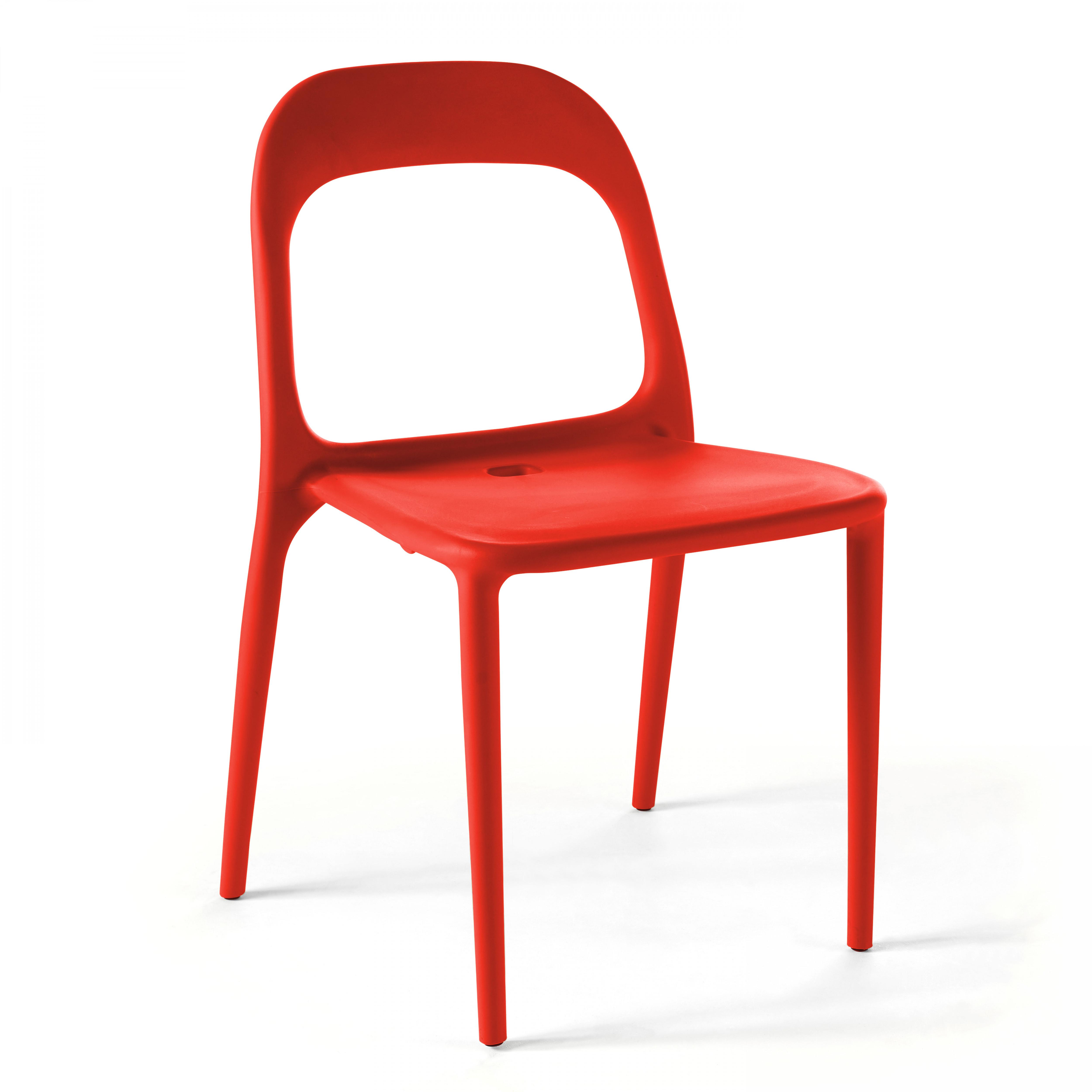 Chaise de jardin 1 place en plastique rouge