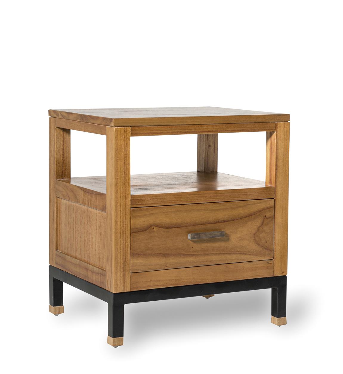 Table de chevet en bois marron L 50 cm