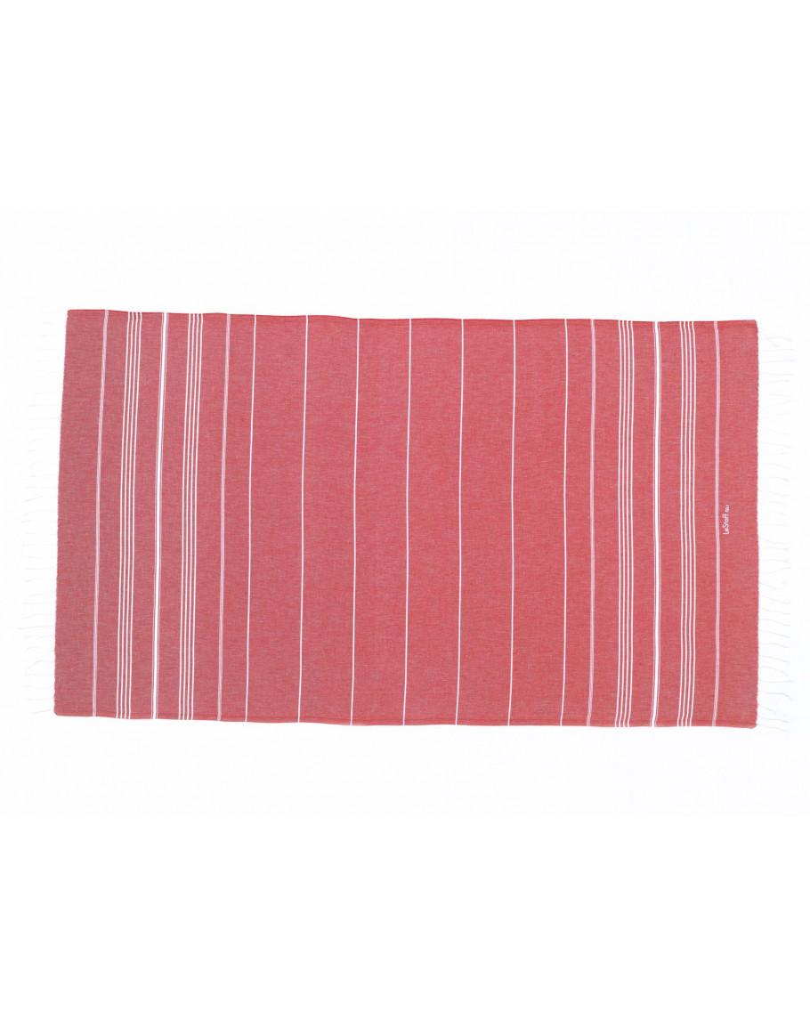 Fouta en coton peigné Rouge 50 x 100 cm