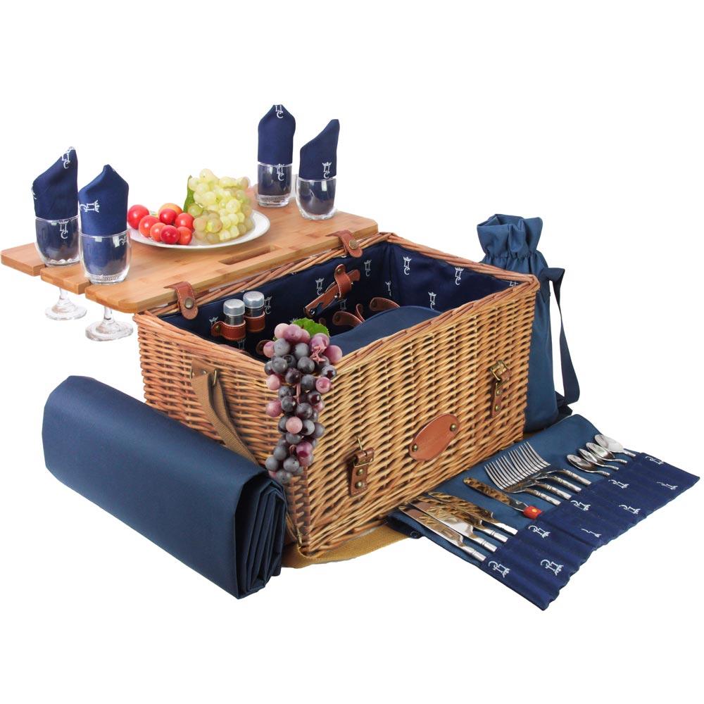 Panier pique-nique en cuir Saint-honoré bleu foncé 4 personnes