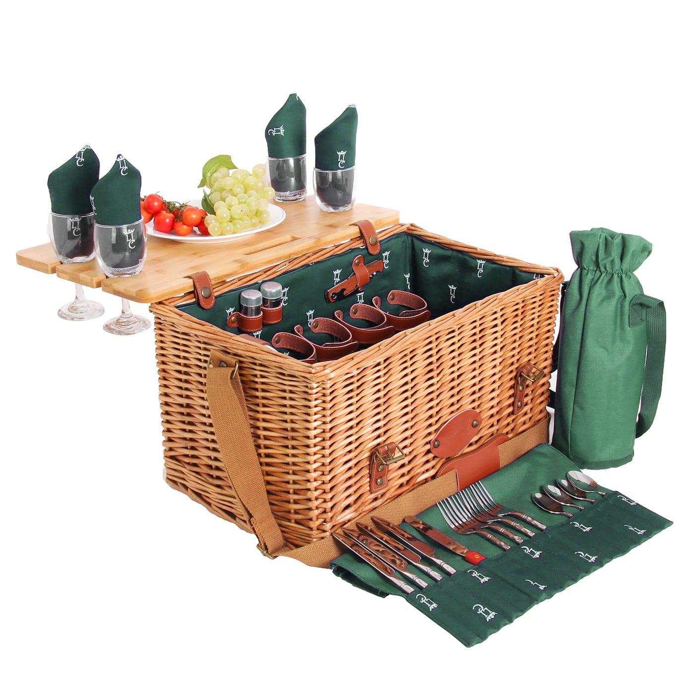 Panier picnic Saint-honoré 4 personnes vert foncé