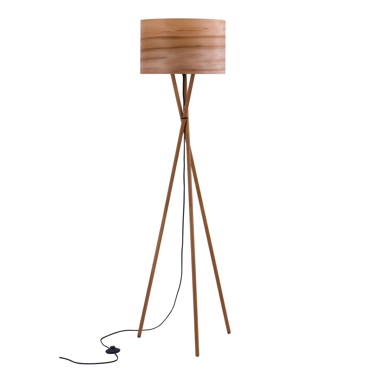 Lampadaire en bois d'hêtre et feuille de bois