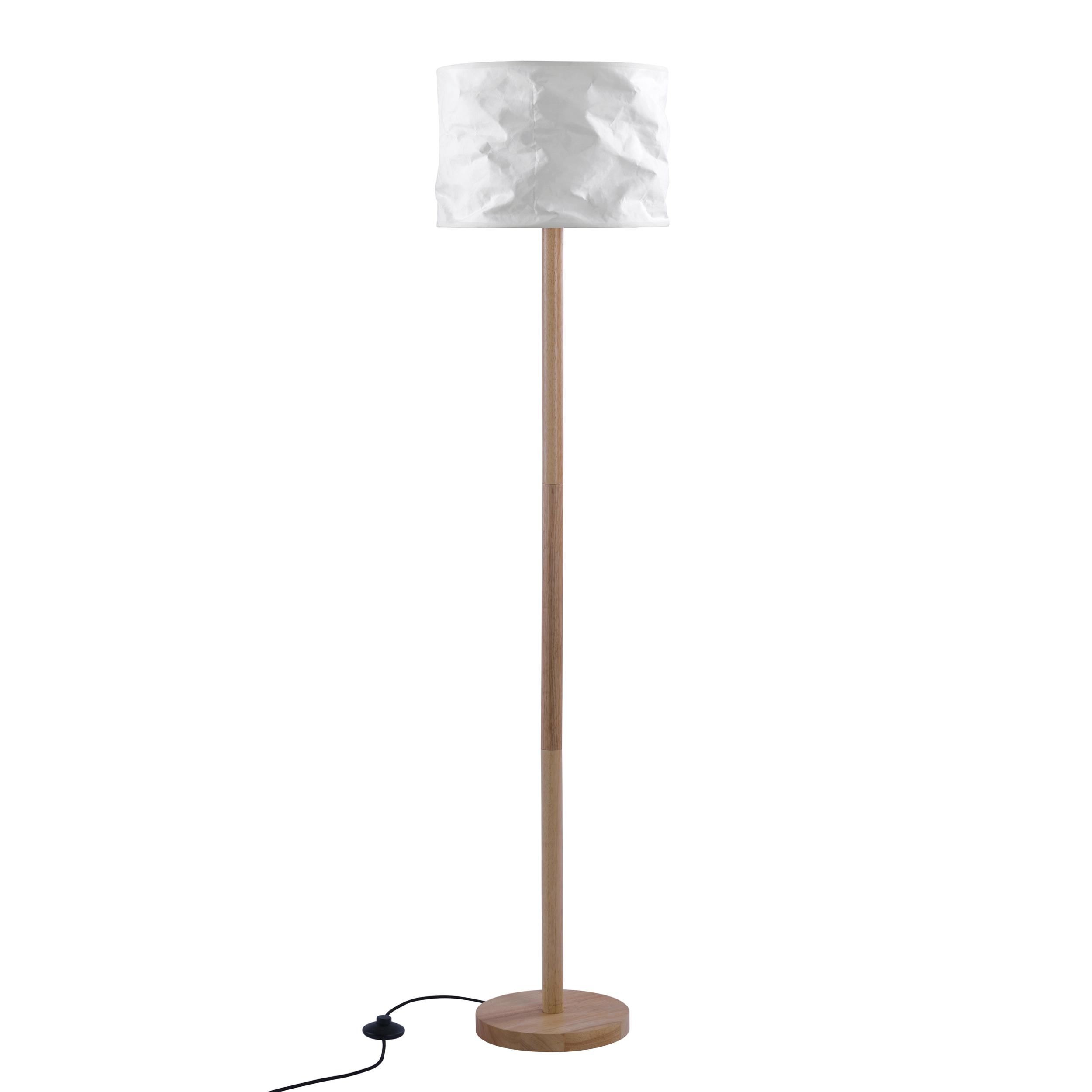 Lampadaire en papier blanc et bois d'hévéa