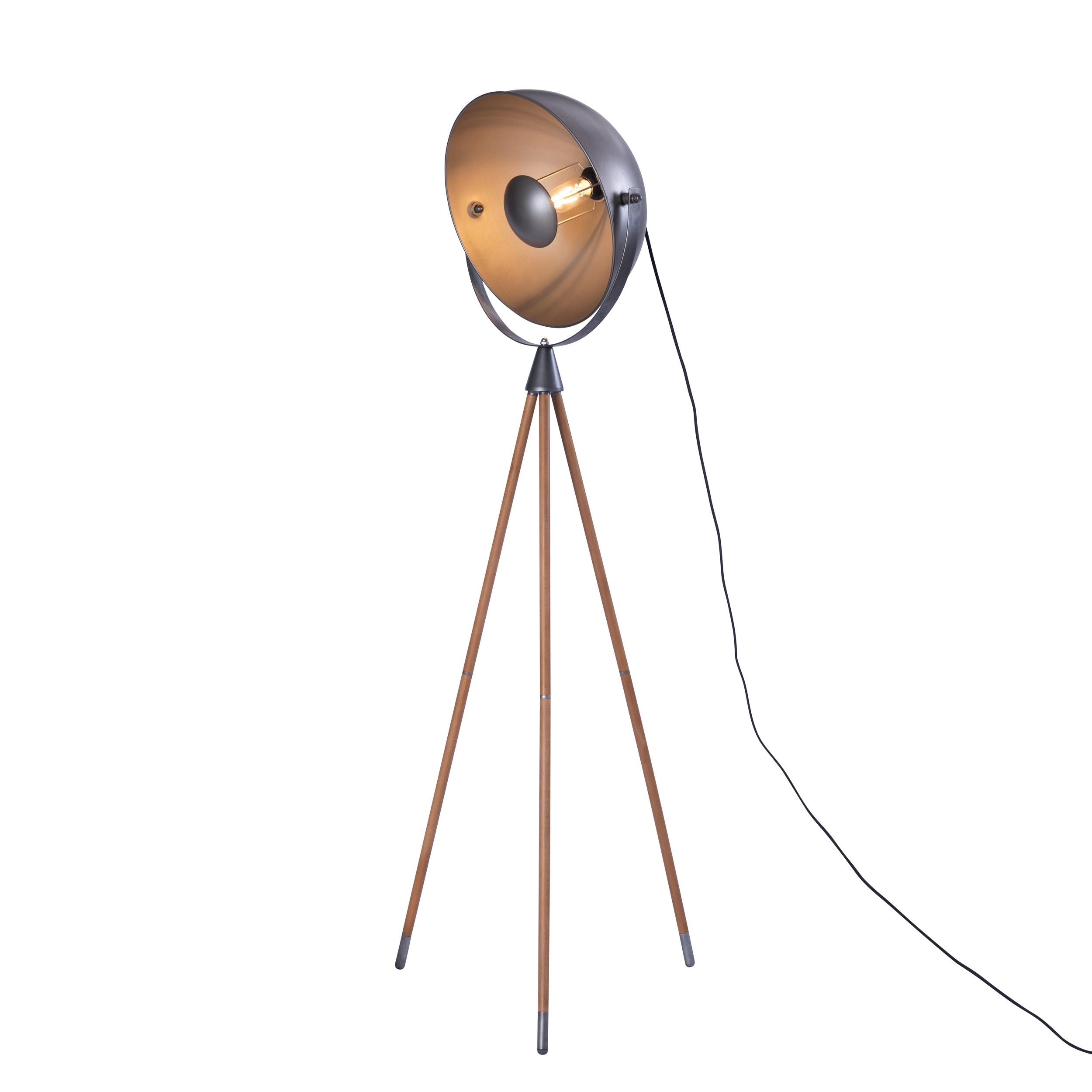 Lampadaire en métal gris et bois