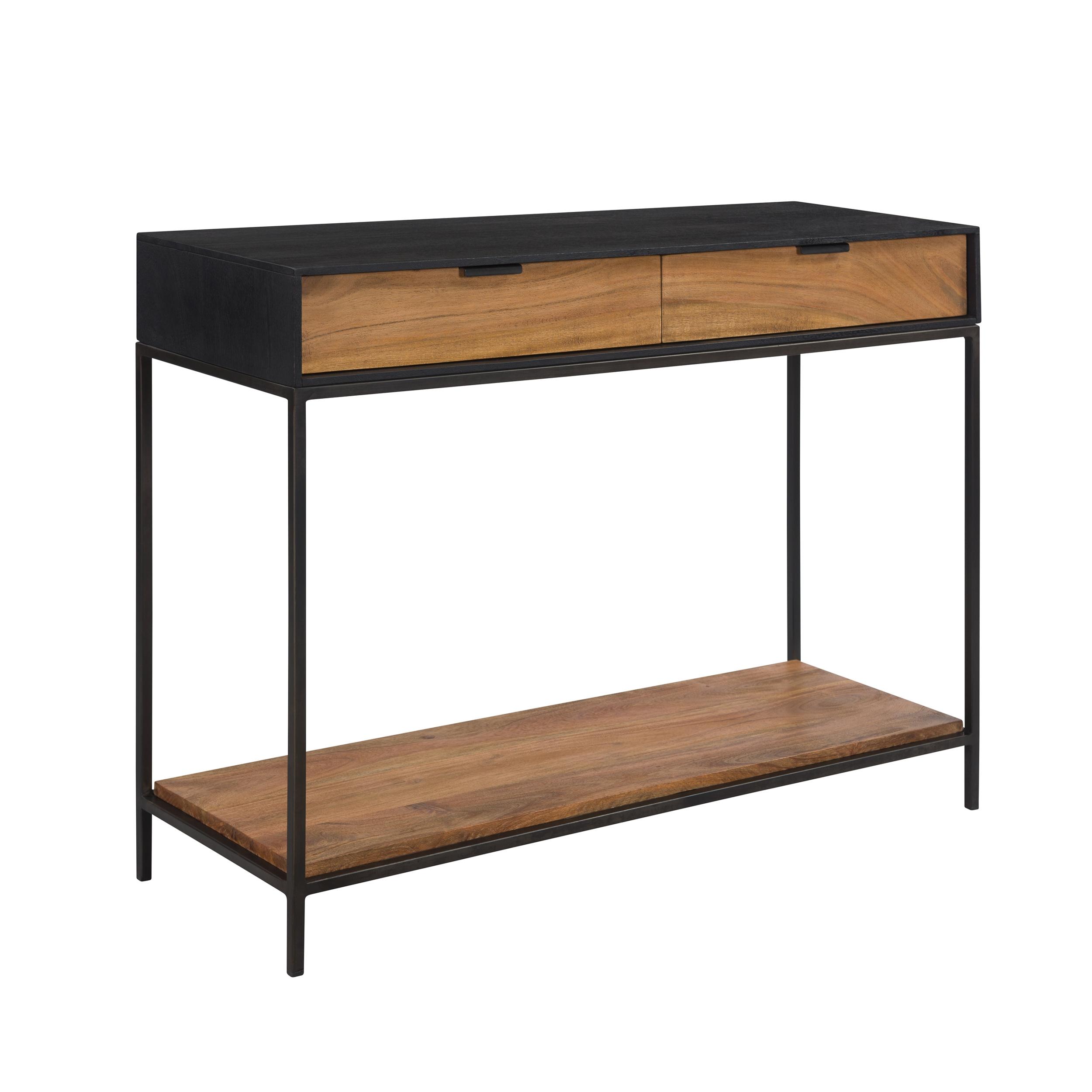 Console 2 tiroirs en bois d'acacia et pieds en métal noir