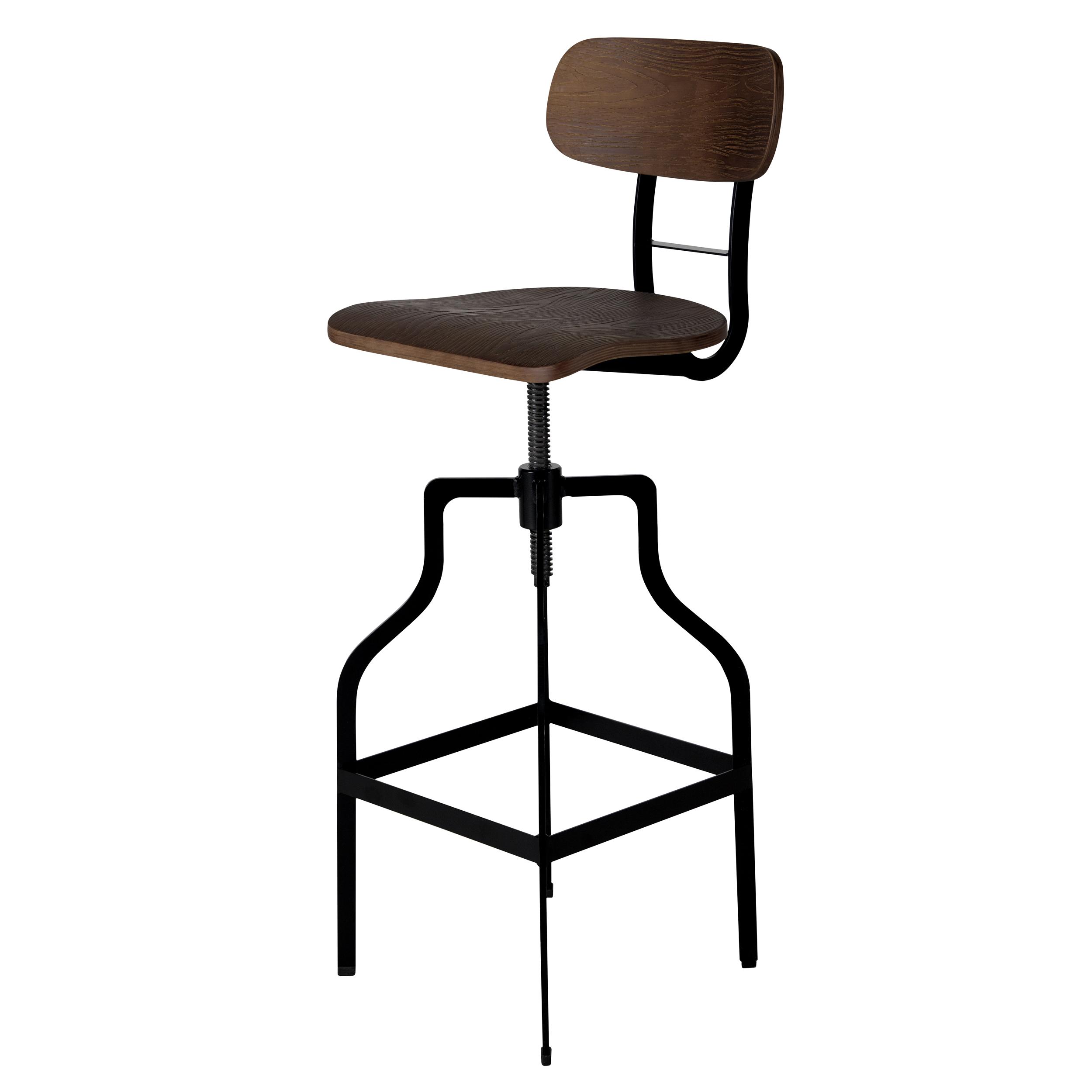 Chaise de bar vintage réglable en hauteur 66/85 cm en bois