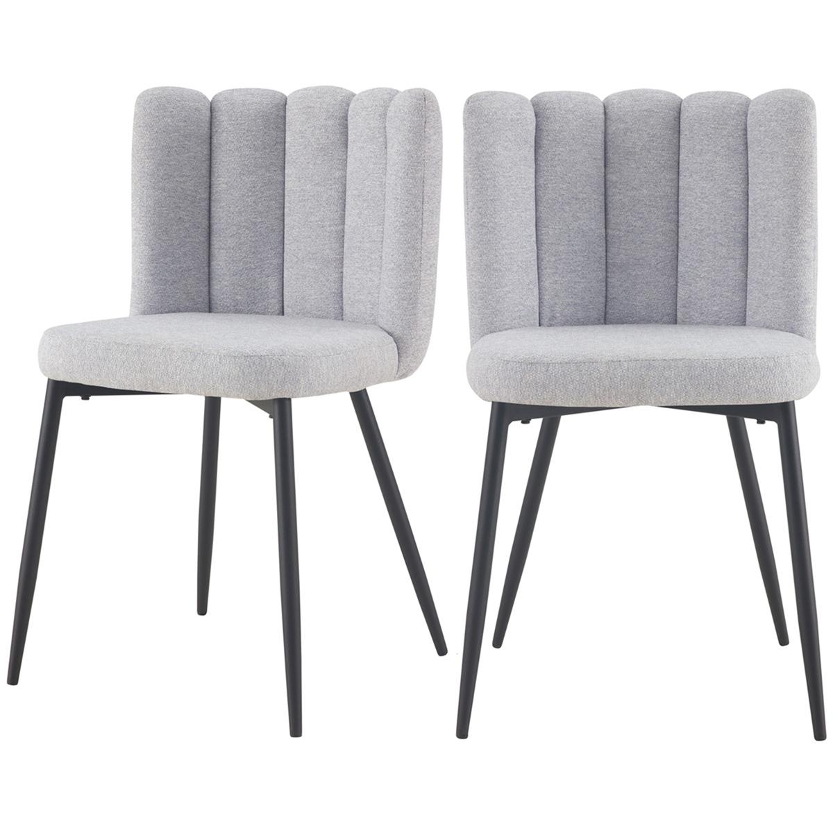 Chaise en tissu gris et pieds en métal noir (lot de 2)