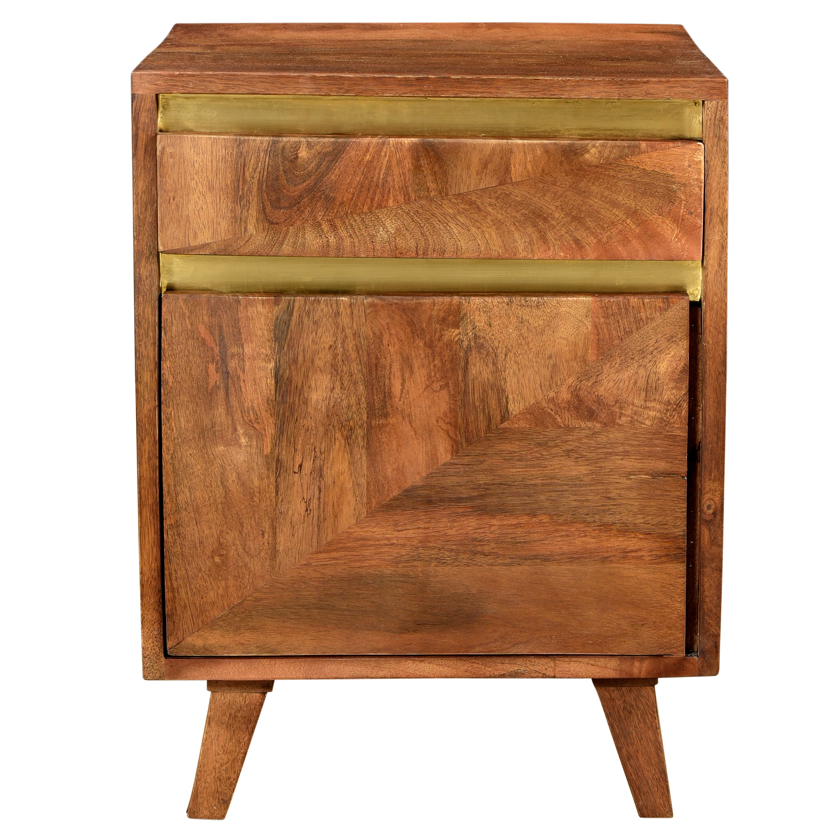 Table de chevet en bois détails dorés, 1 tiroir et 1 porte