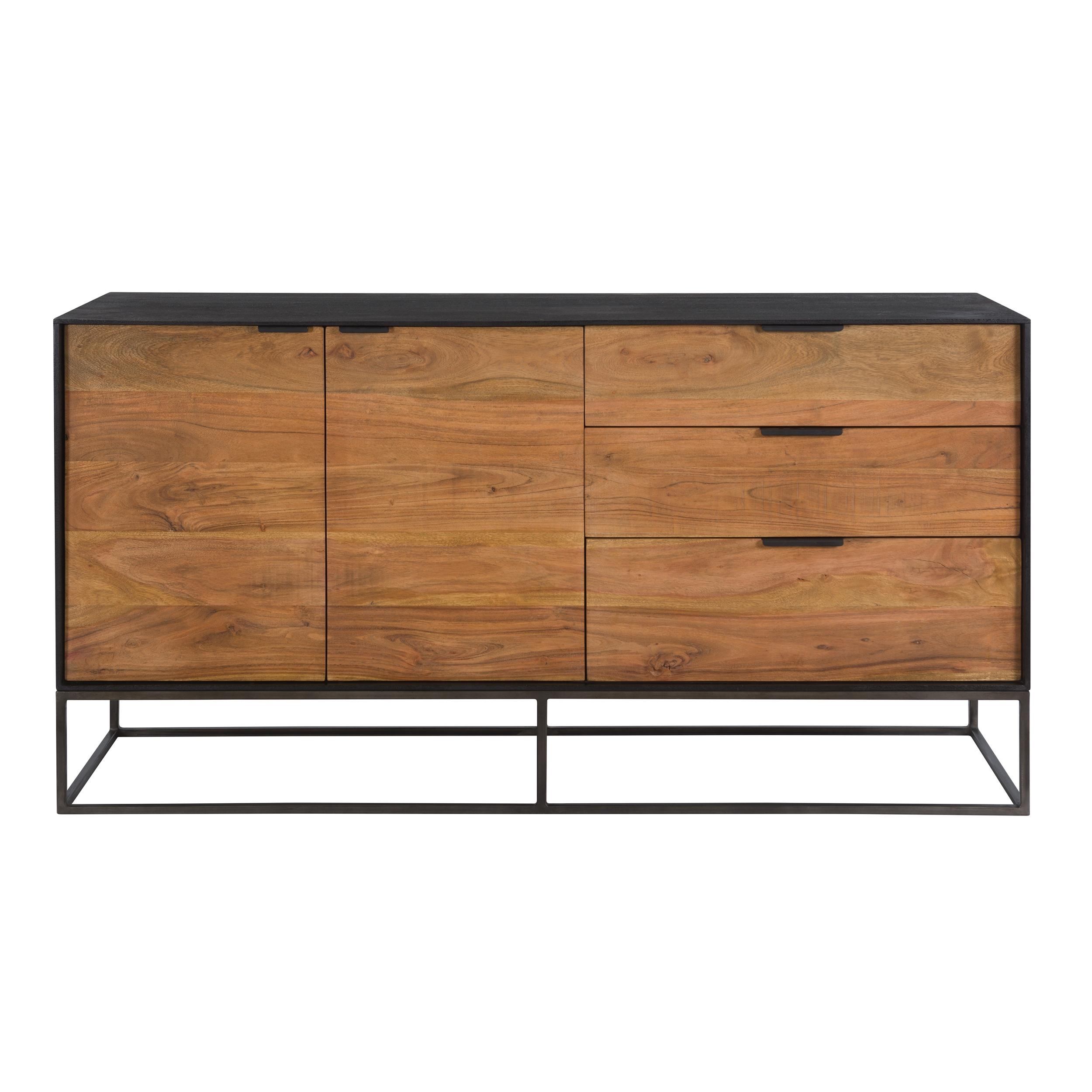 Buffet 2 portes 3 tiroirs en bois d'acacia, pieds en métal