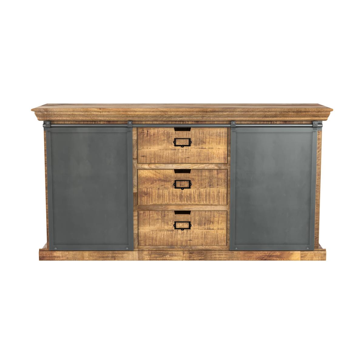Buffet en bois 3 tiroirs 2 portes coulissantes en métal
