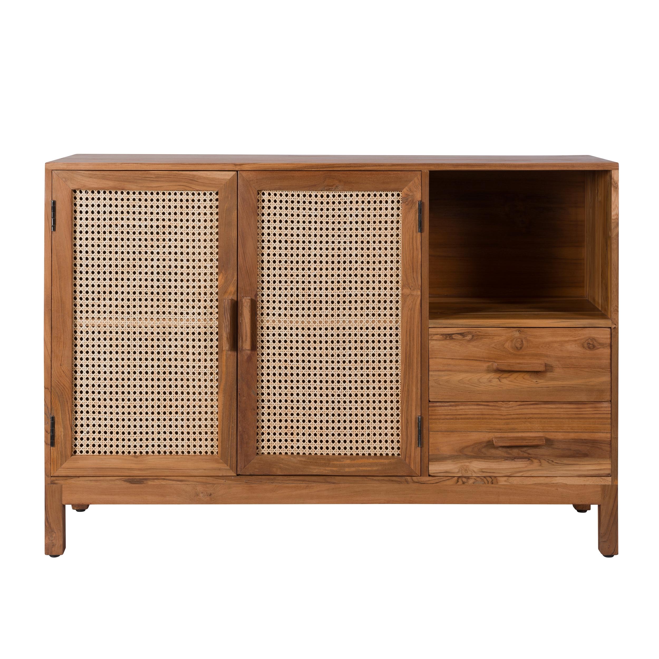 Buffet 2 portes 2 tiroirs 2 niches bois de teck et cannage