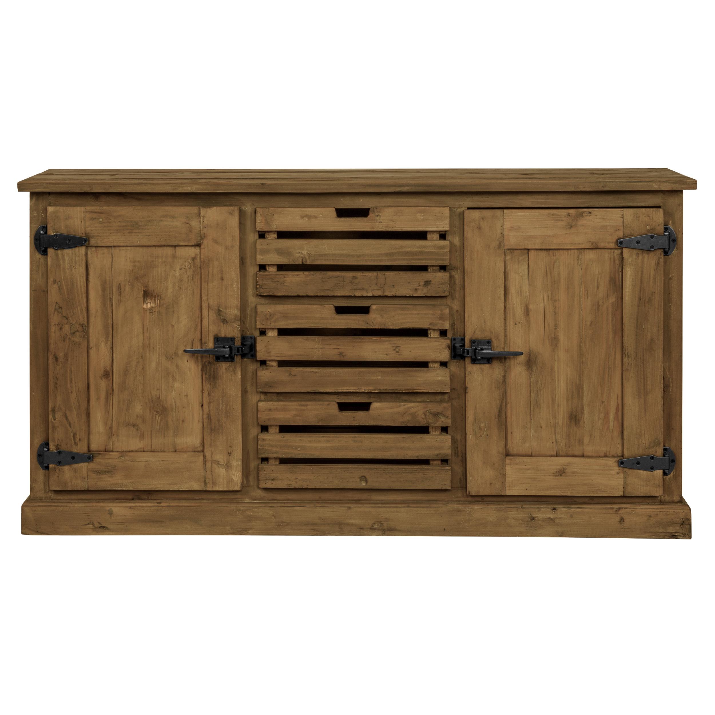 Buffet en bois recyclé 2 portes et 3 tiroirs