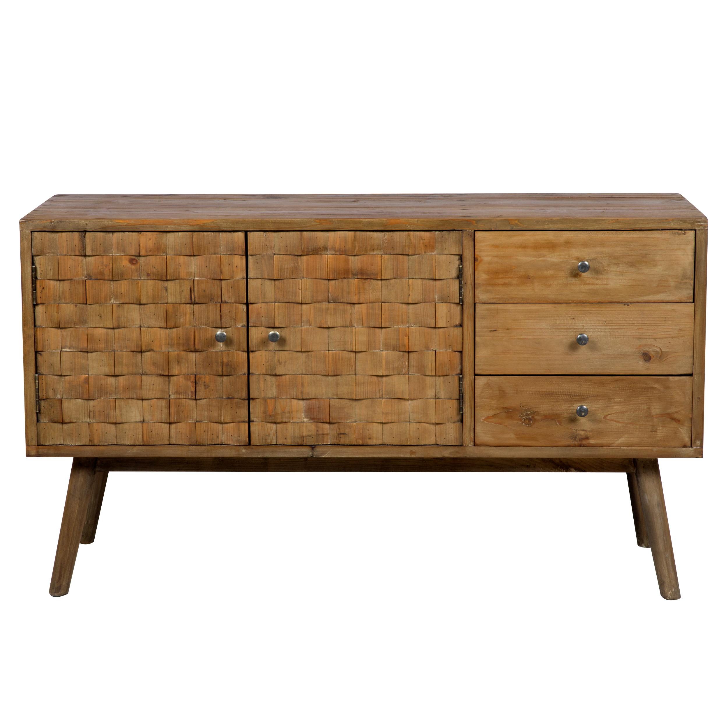 Buffet 2 portes 3 tiroirs en bois recyclé