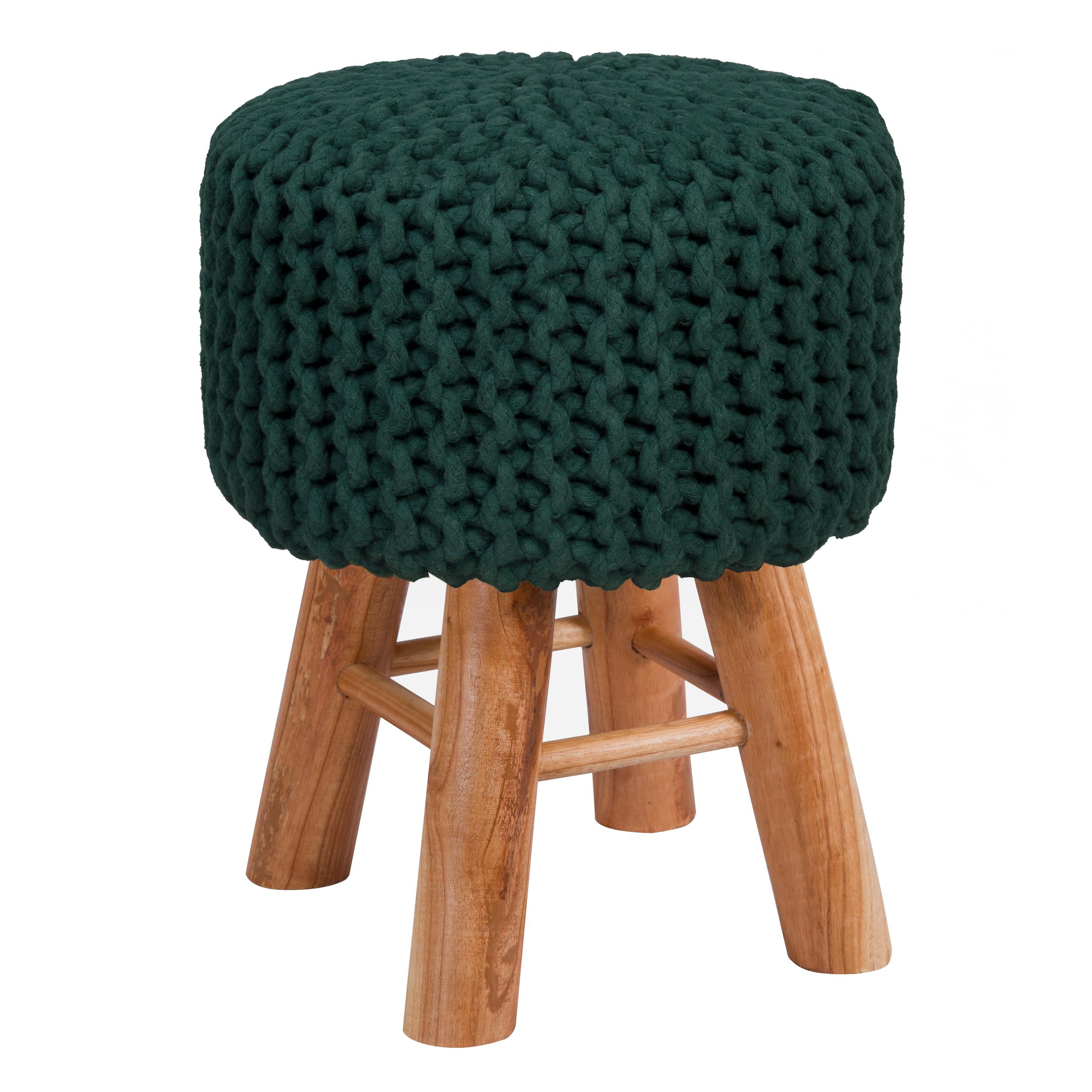 Tabouret tricot en coton vert sapin