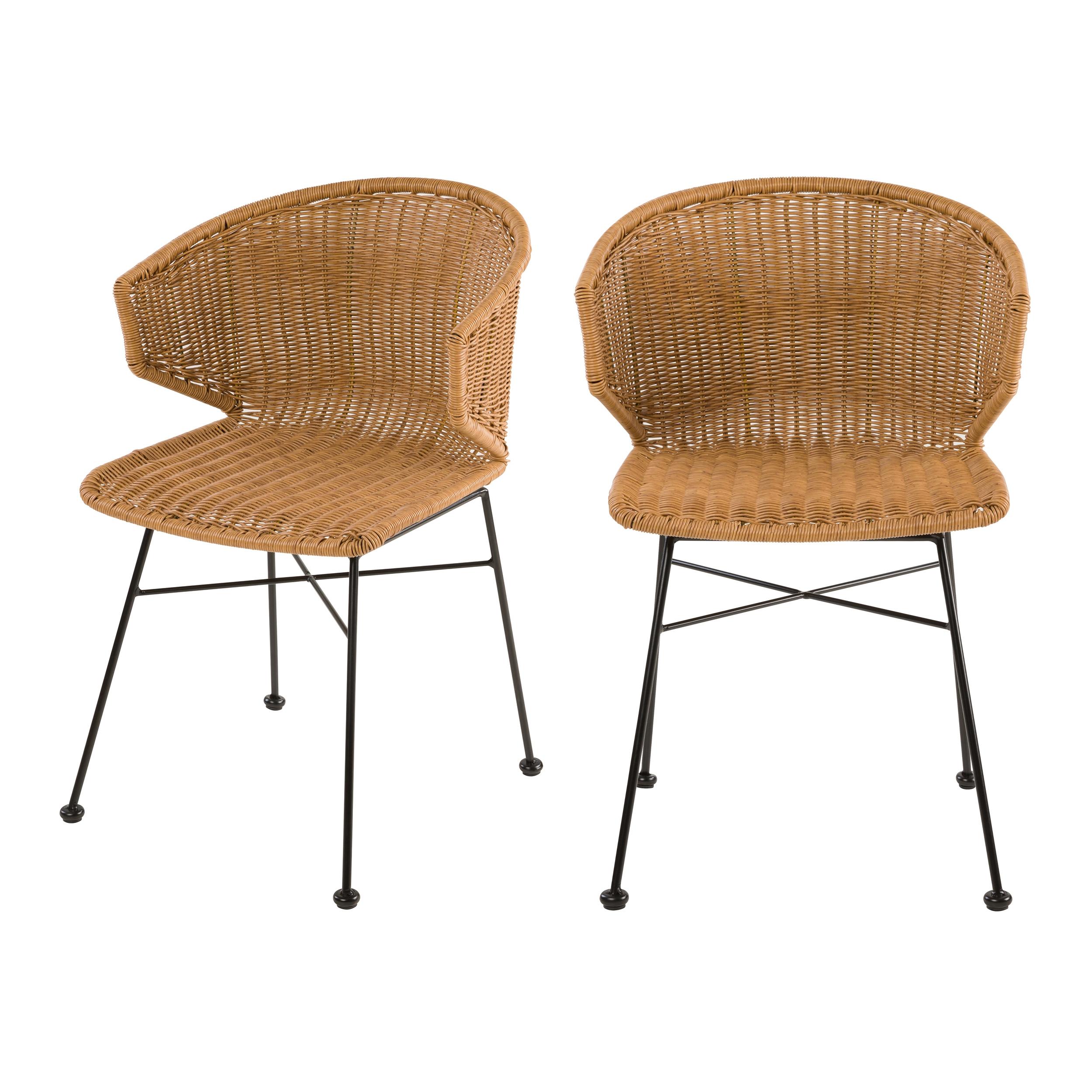 Chaise en résine tressée beige intérieur/extérieur (x2)