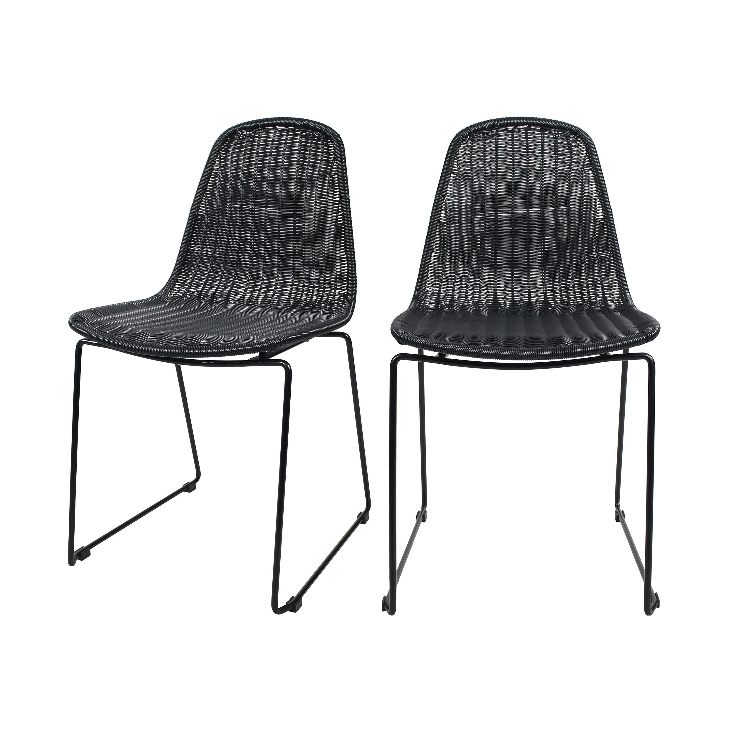 Chaise en résine tressée noire intérieur/extérieur (x2)