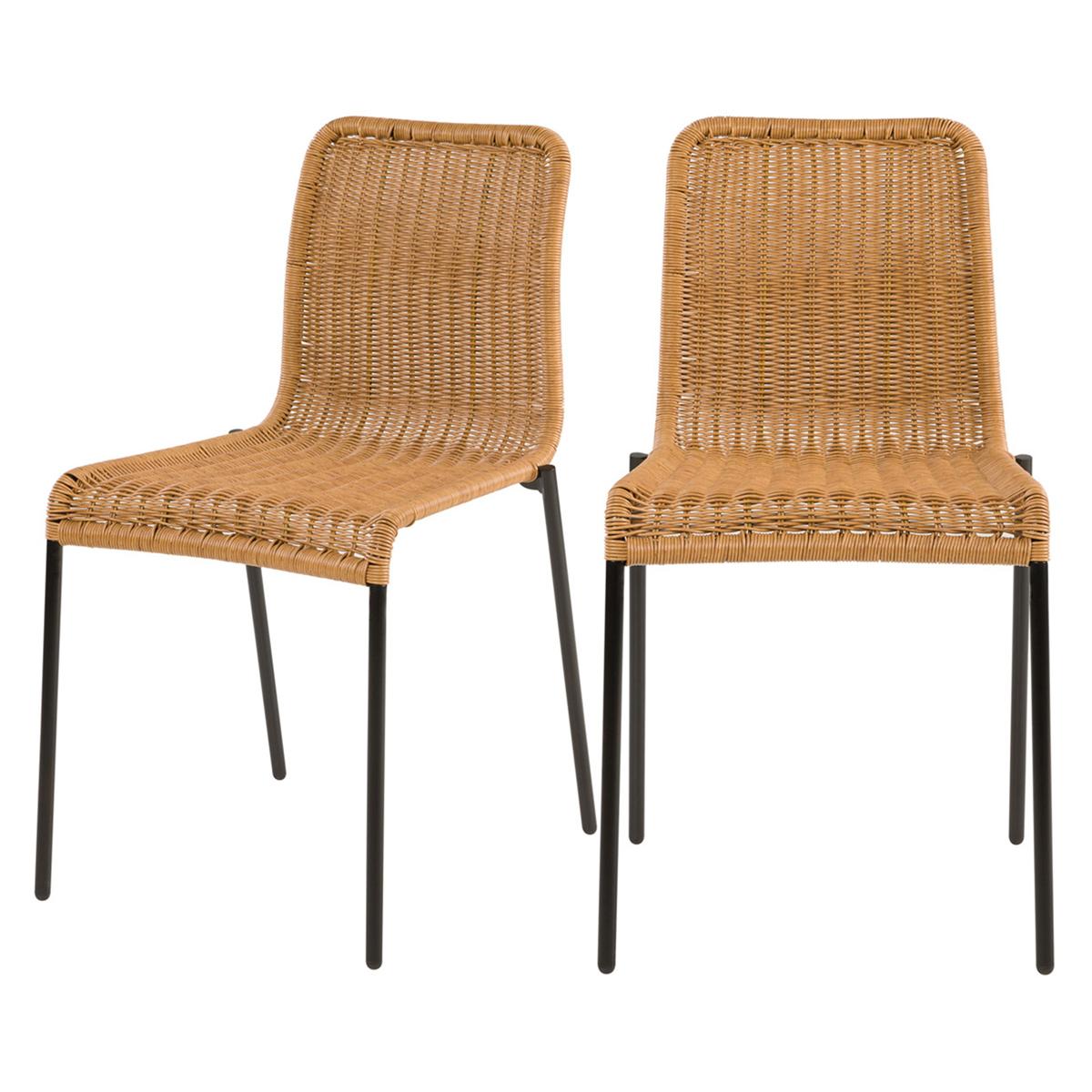 Chaise intérieur extérieur en résine tressée naturelle (x2)