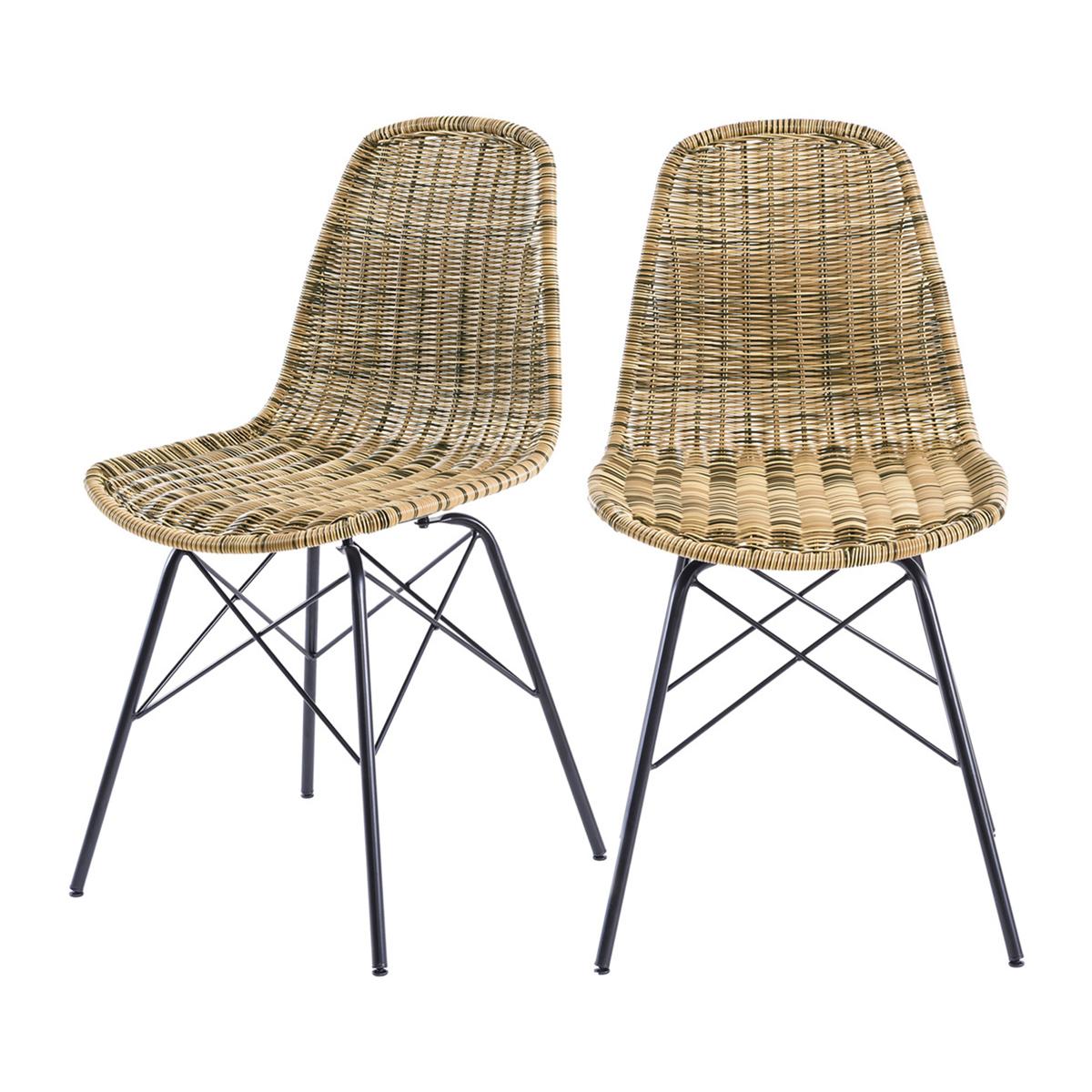 Chaise en résine tressée marron (lot de 2)