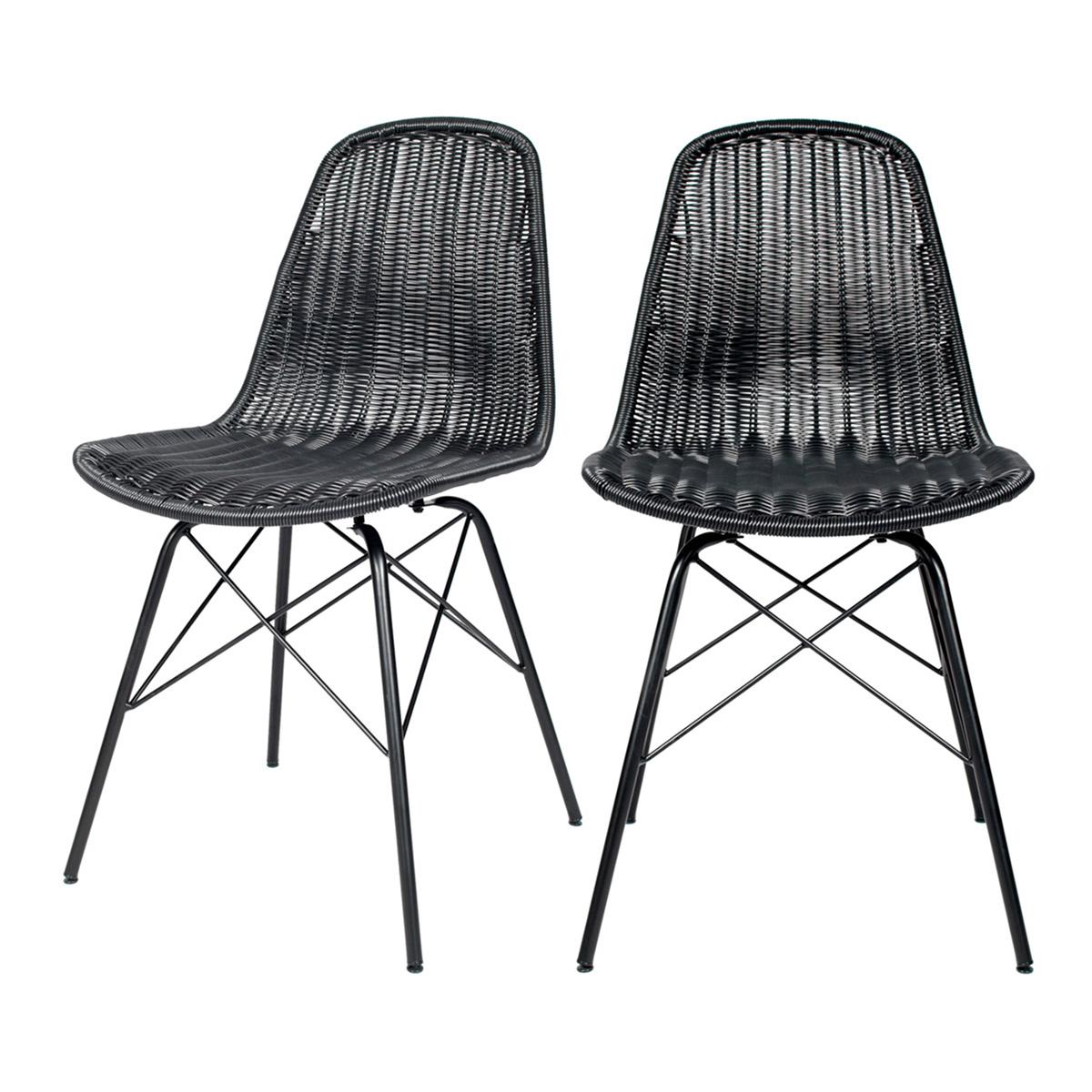 Chaise en résine tressée noir (lot de 2)