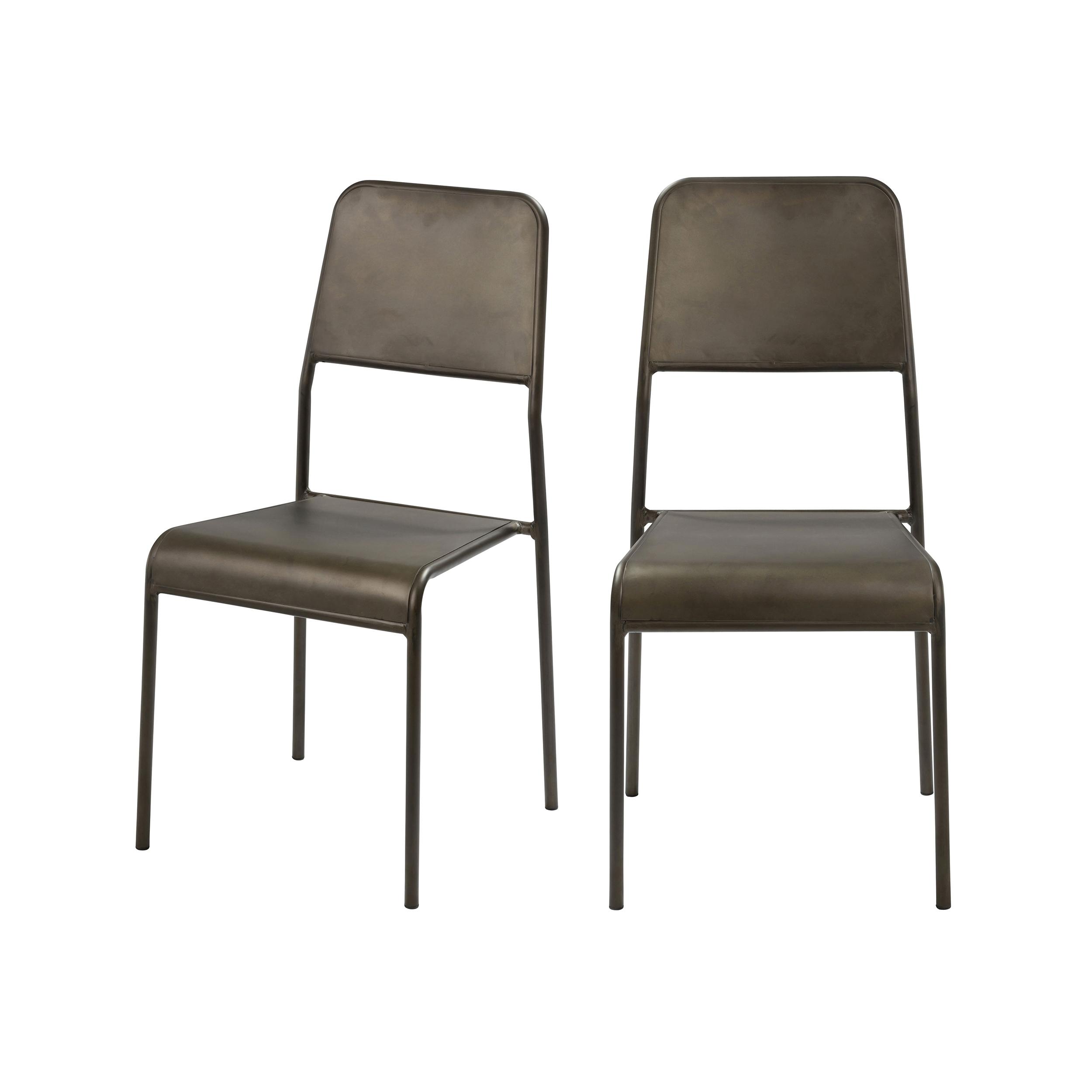 Chaise empilable gris métalisé intérieur/extérieur (x2)