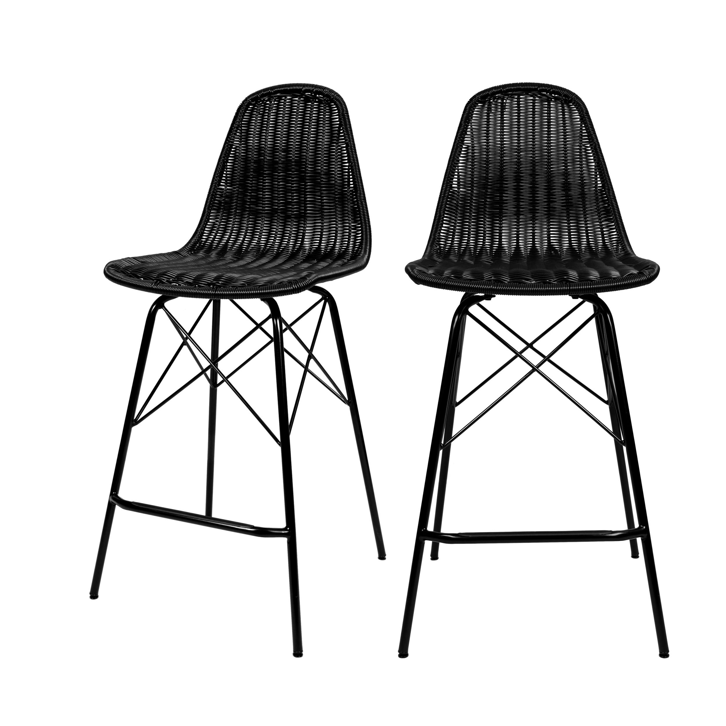 Chaise de bar 63 cm en résine tressé noire (lot de 2)