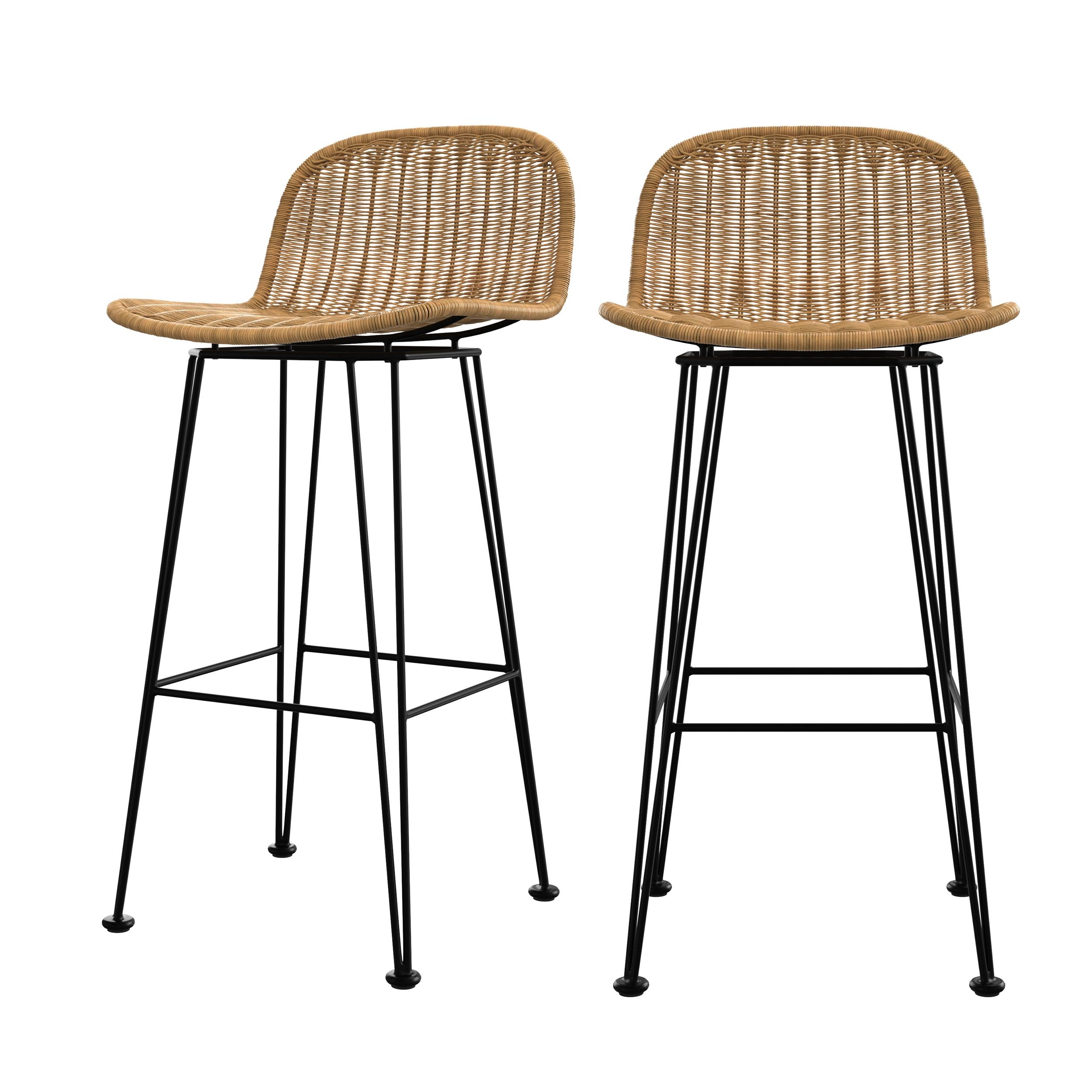 Chaise de bar 76 cm en résine tressée marron (lot de 2)