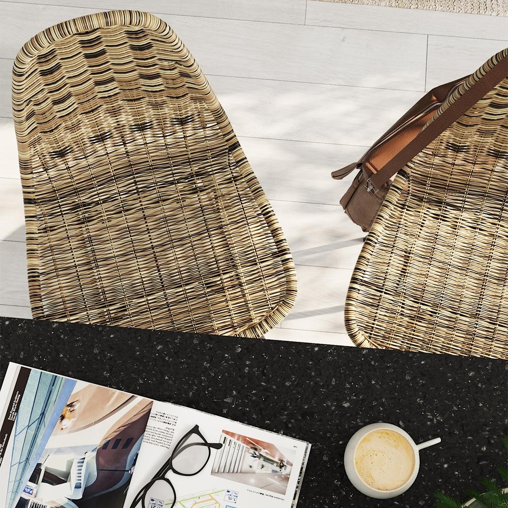 Chaise de bar 63 cm en résine tressé marron (lot de 2)