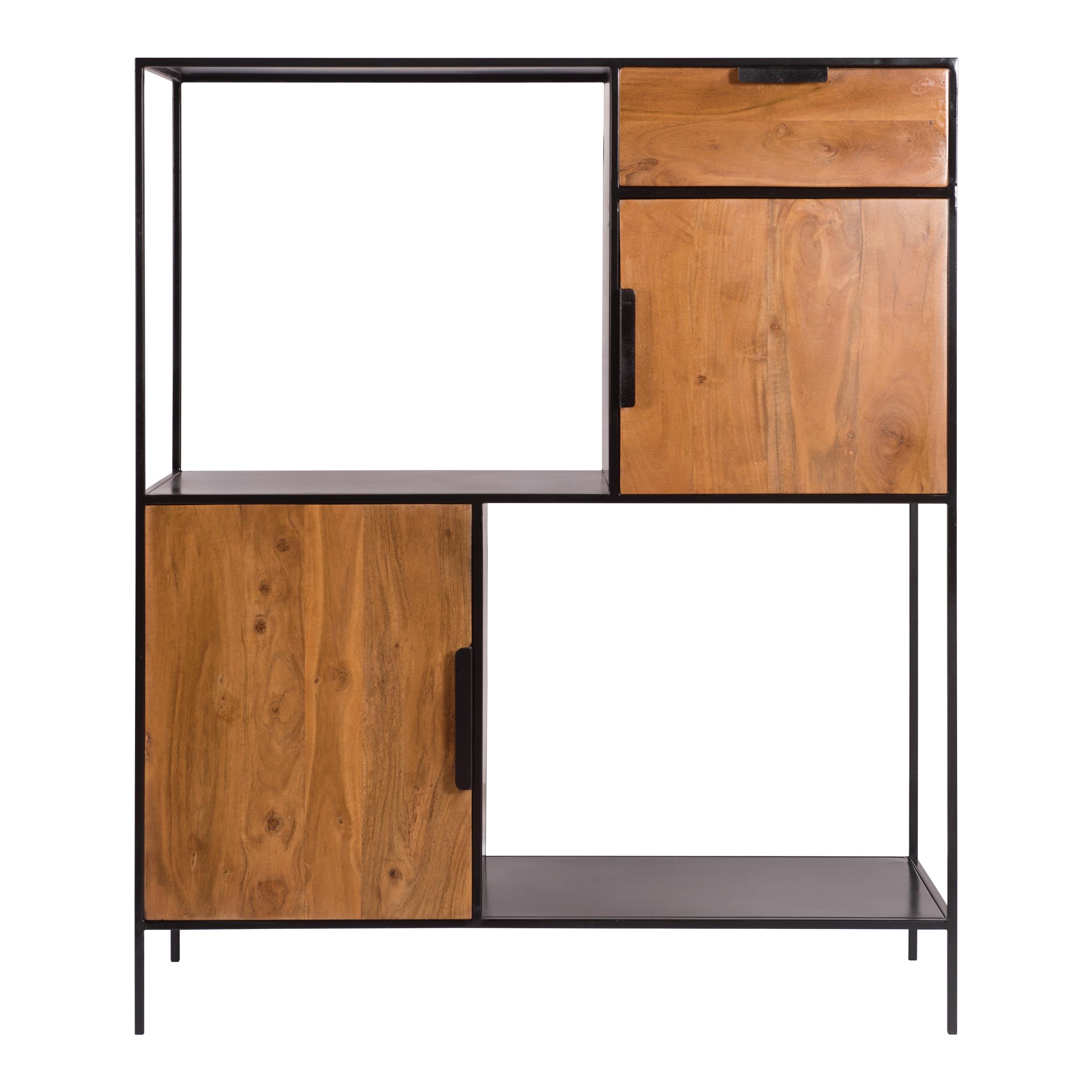 Etagère 2 niches 2 portes en bois d'acacia et métal