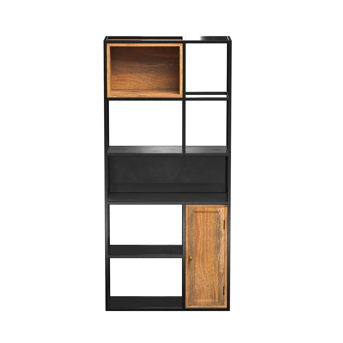 Etagère 5 niveaux en métal noir et bois 1 porte