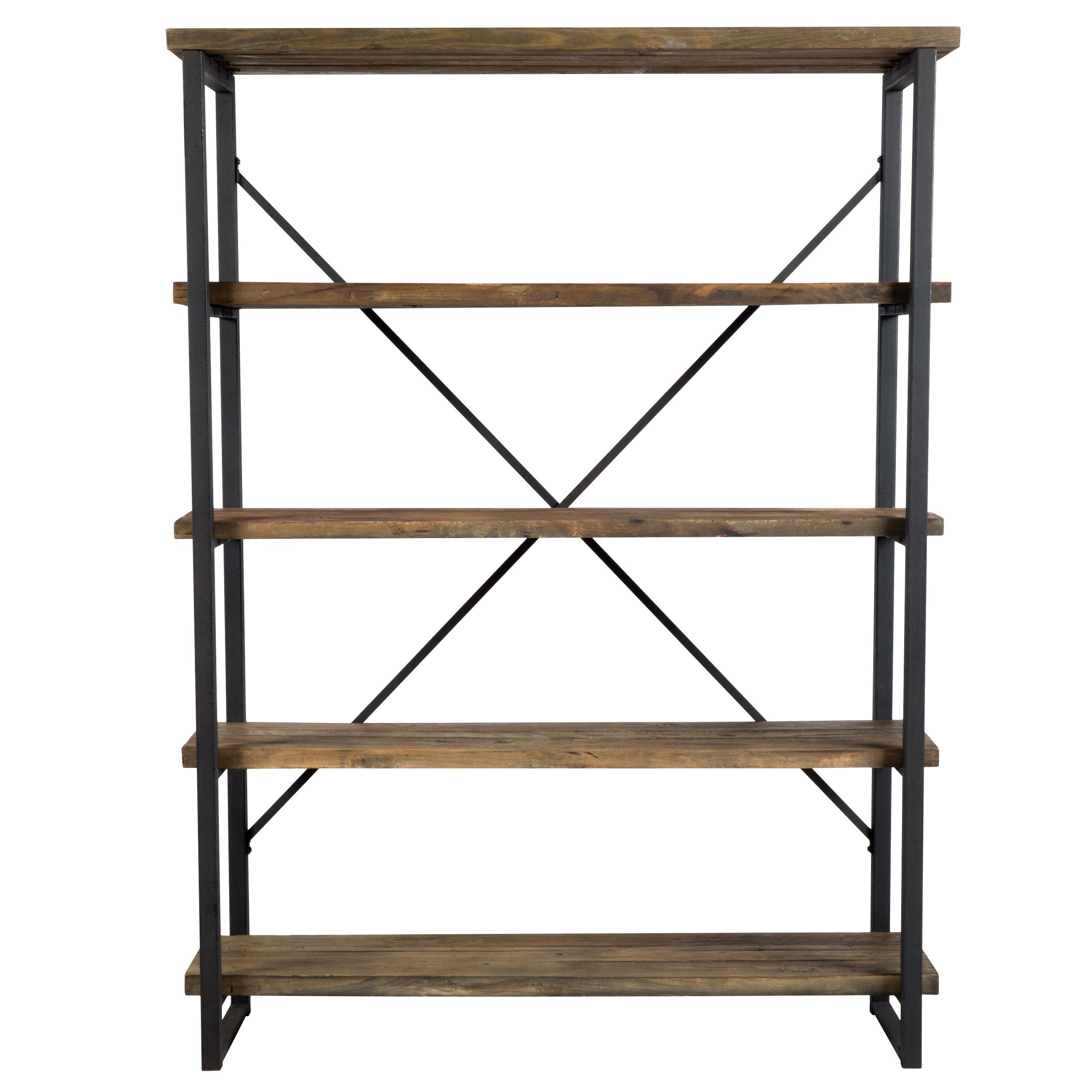 Etagère à 4 niveaux en bois recyclé et métal
