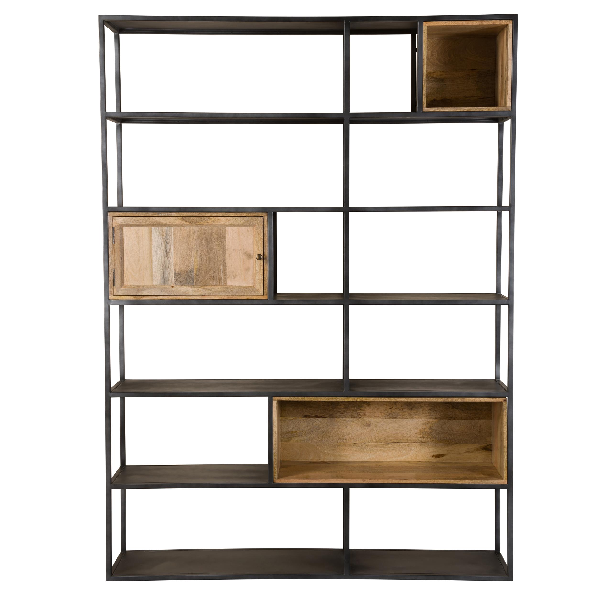 Etagère 6 niveaux en métal noir et bois 1 porte