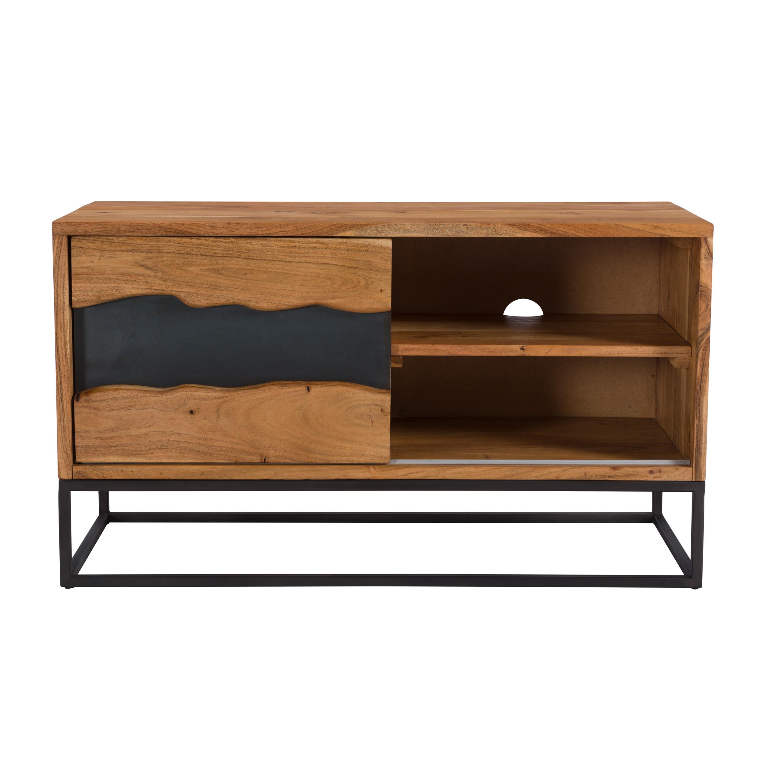 maison du monde Meuble TV 1 porte coulissante en bois d'acacia et métal noir