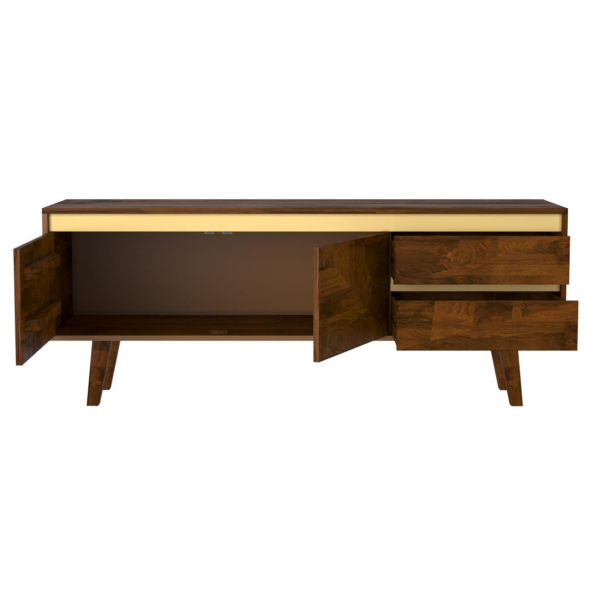 Meuble TV en bois détails dorés 2 portes 2 tiroirs