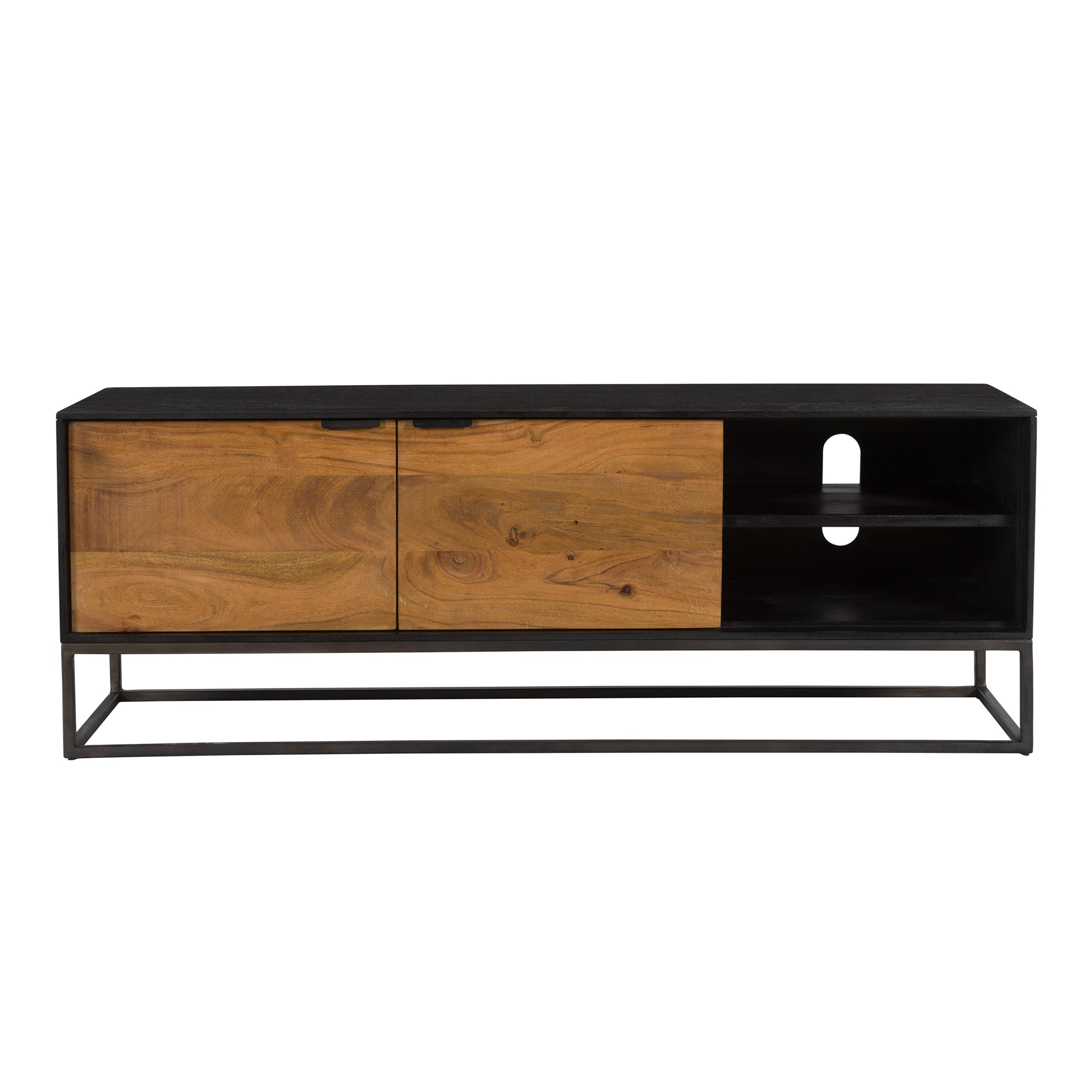 Meuble TV 2 portes 2 niches en bois d'acacia, pieds en métal