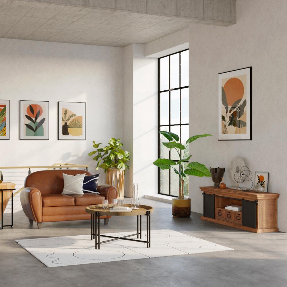Meuble TV en bois 3 tiroirs 2 portes coulissantes en métal