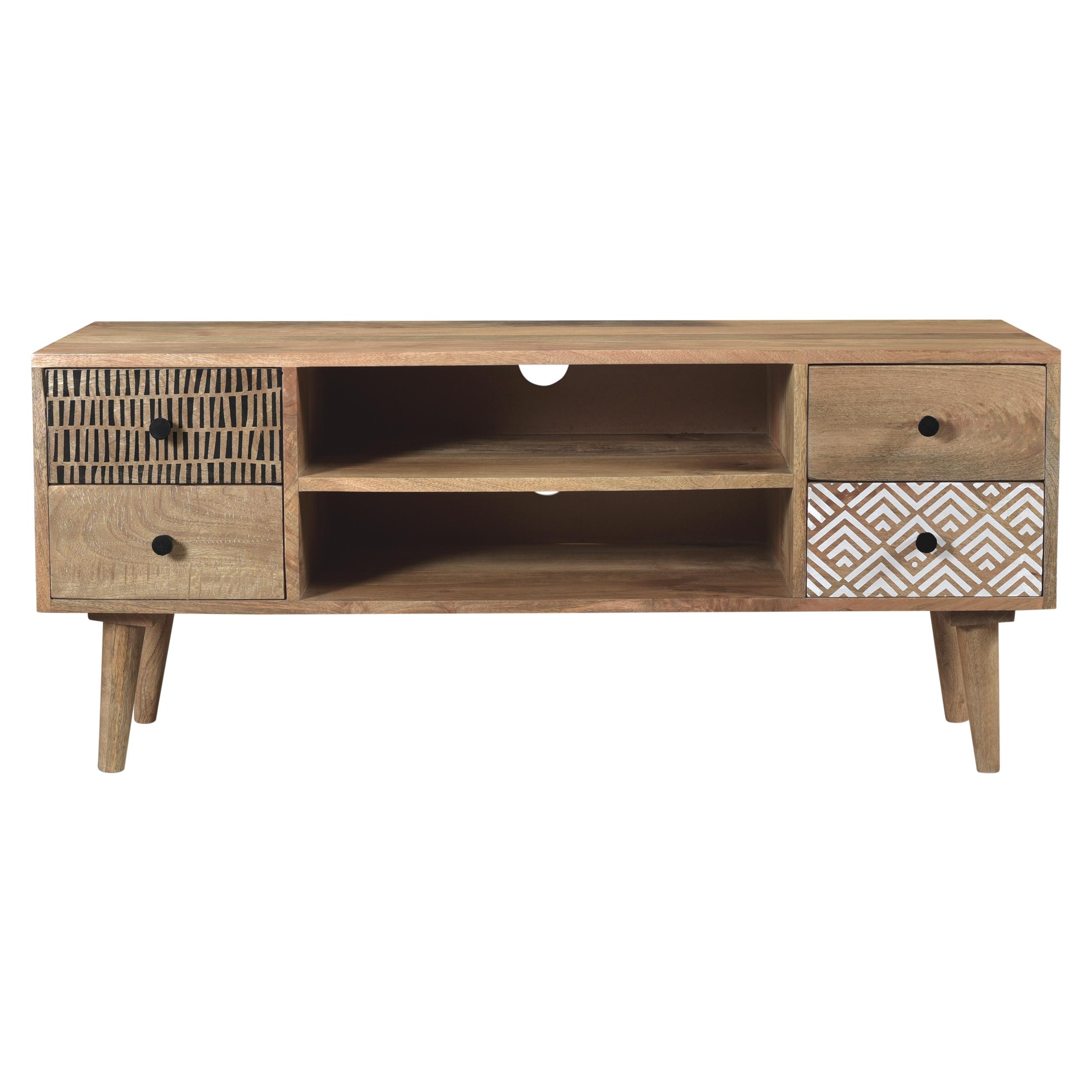 maison du monde Meuble TV en bois 2 niches 4 tiroirs à motifs