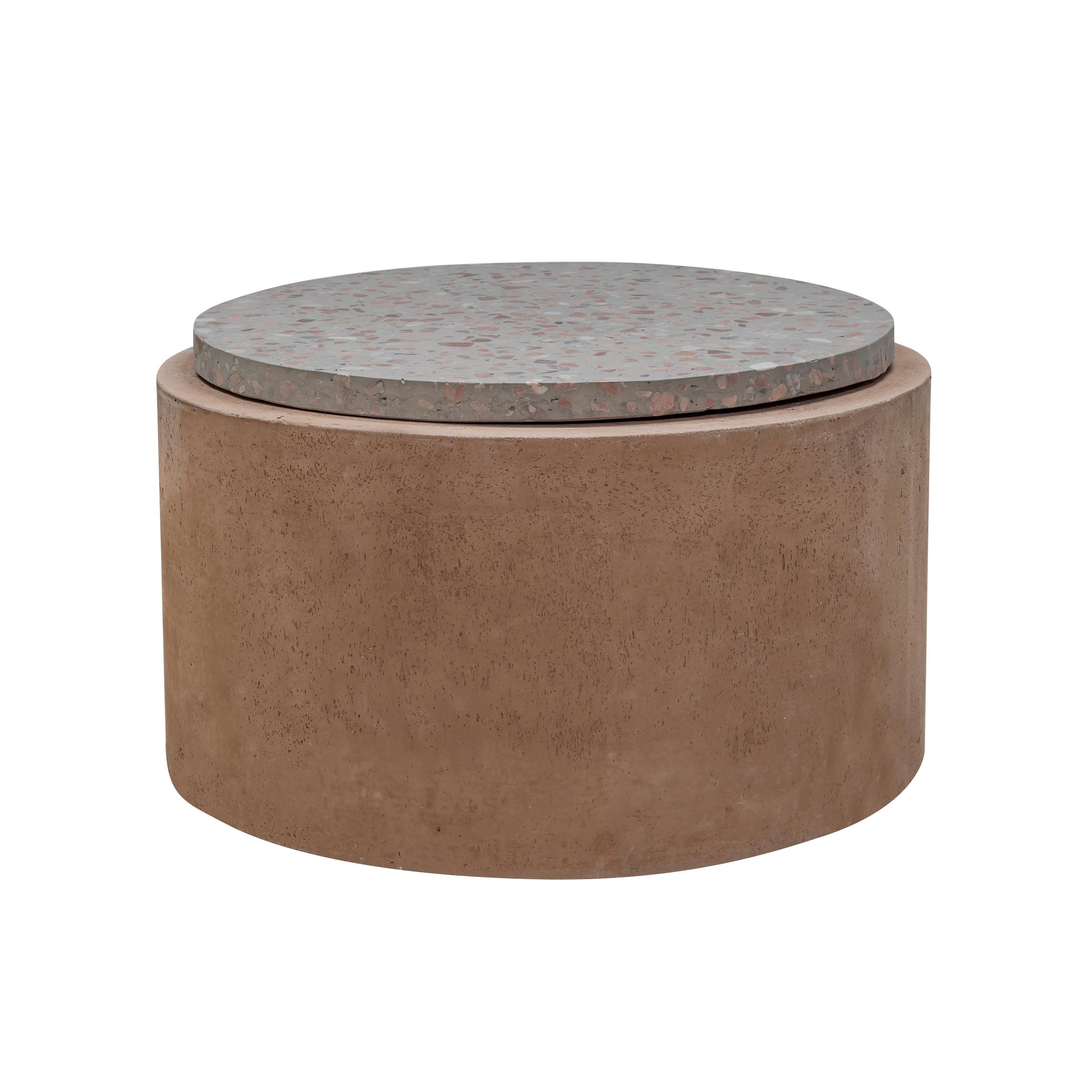Table d'appoint ronde en terrazzo et béton 66 cm