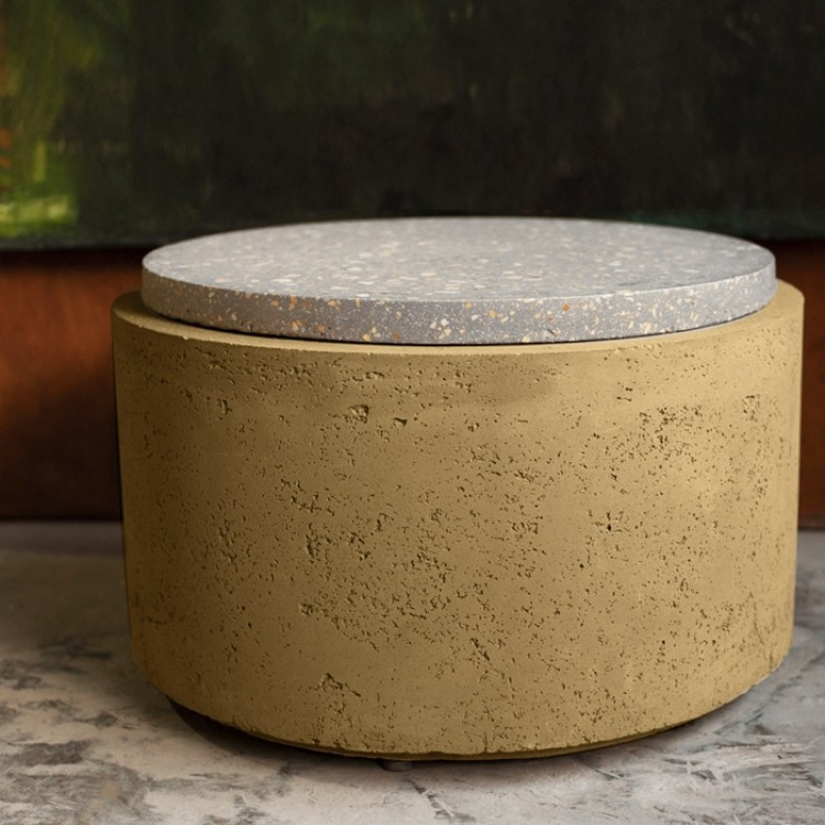 Table d'appoint ronde en terrazzo et béton 84 cm