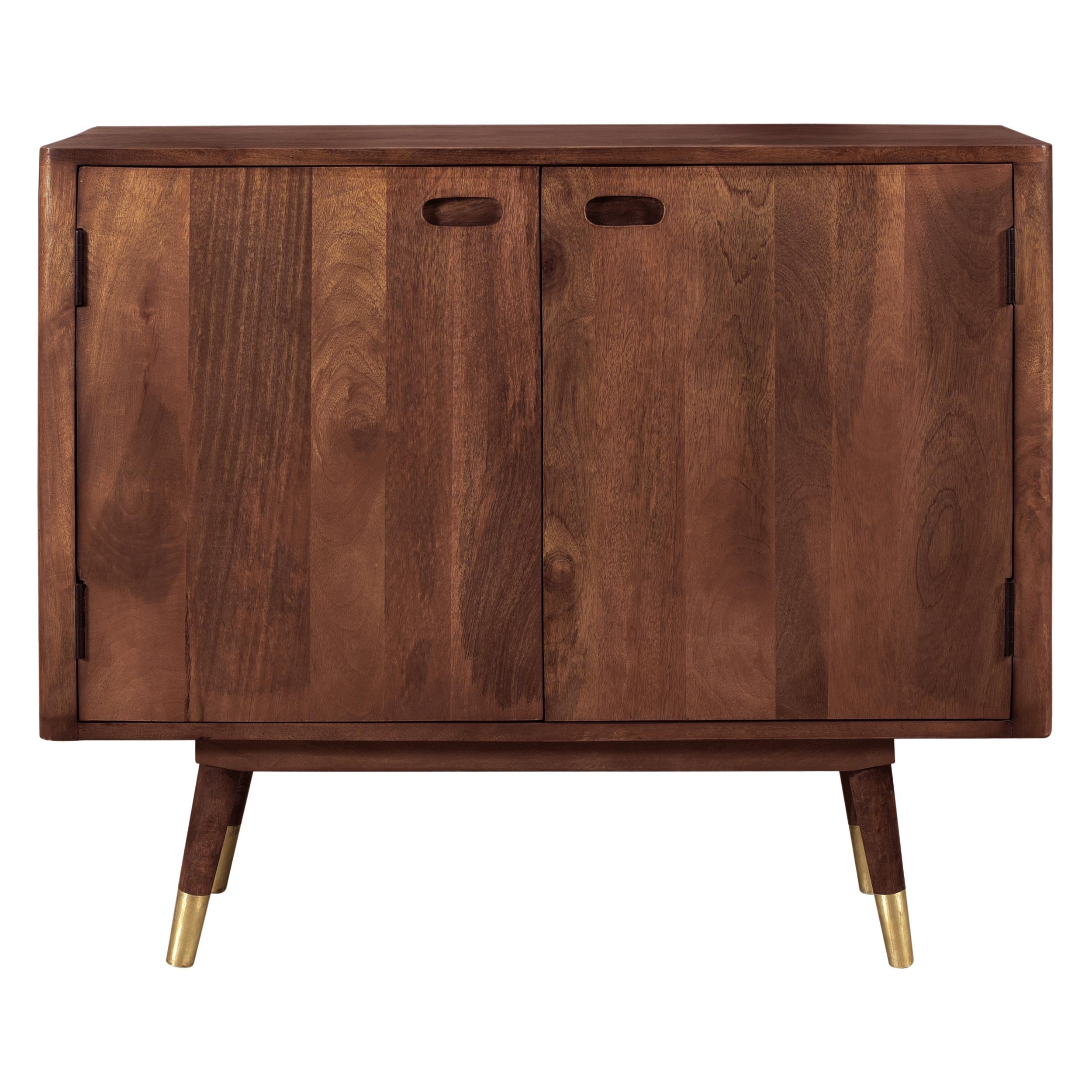 Buffet en bois massif 2 portes et détails dorés