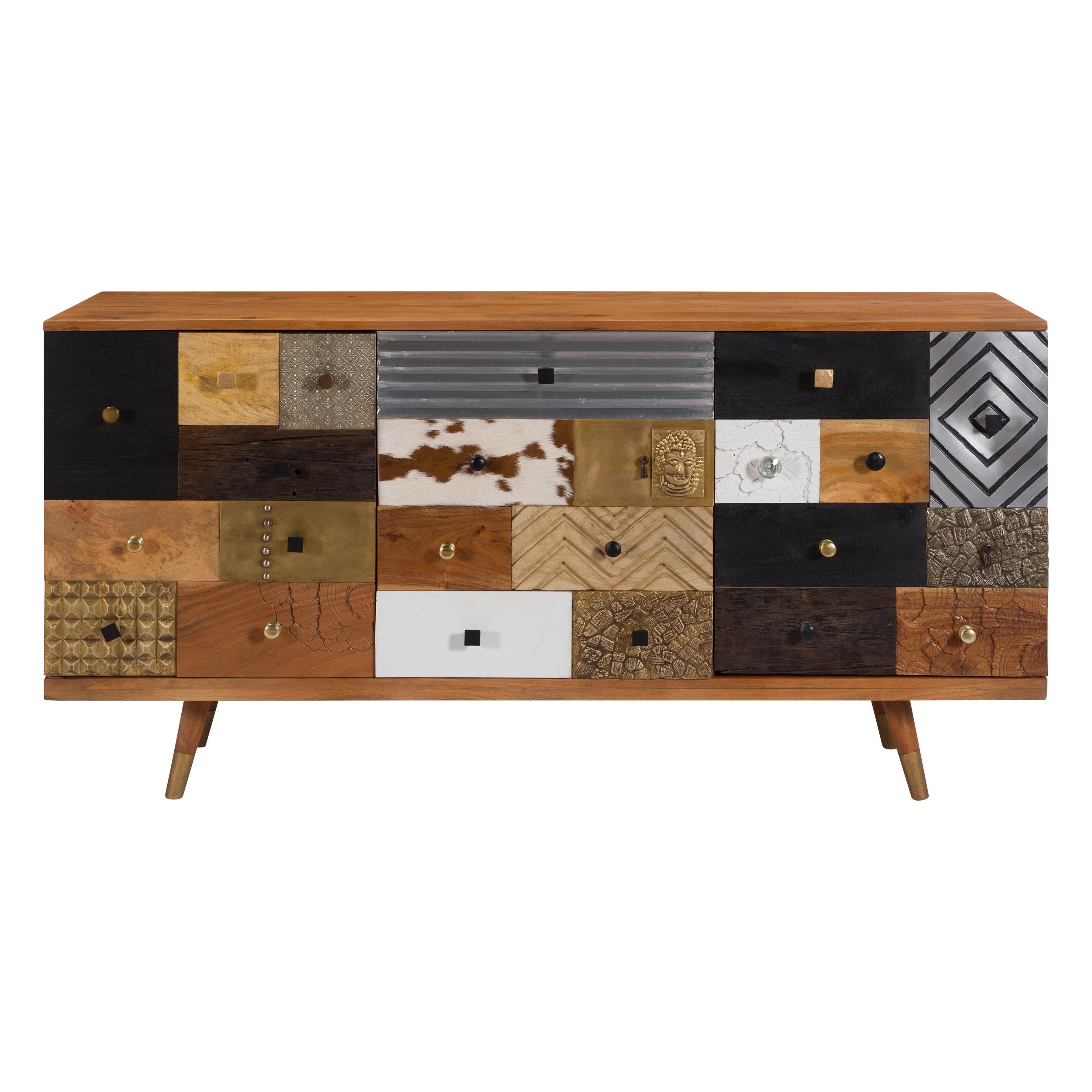 Buffet 2 portes 4 tiroirs en bois et métal