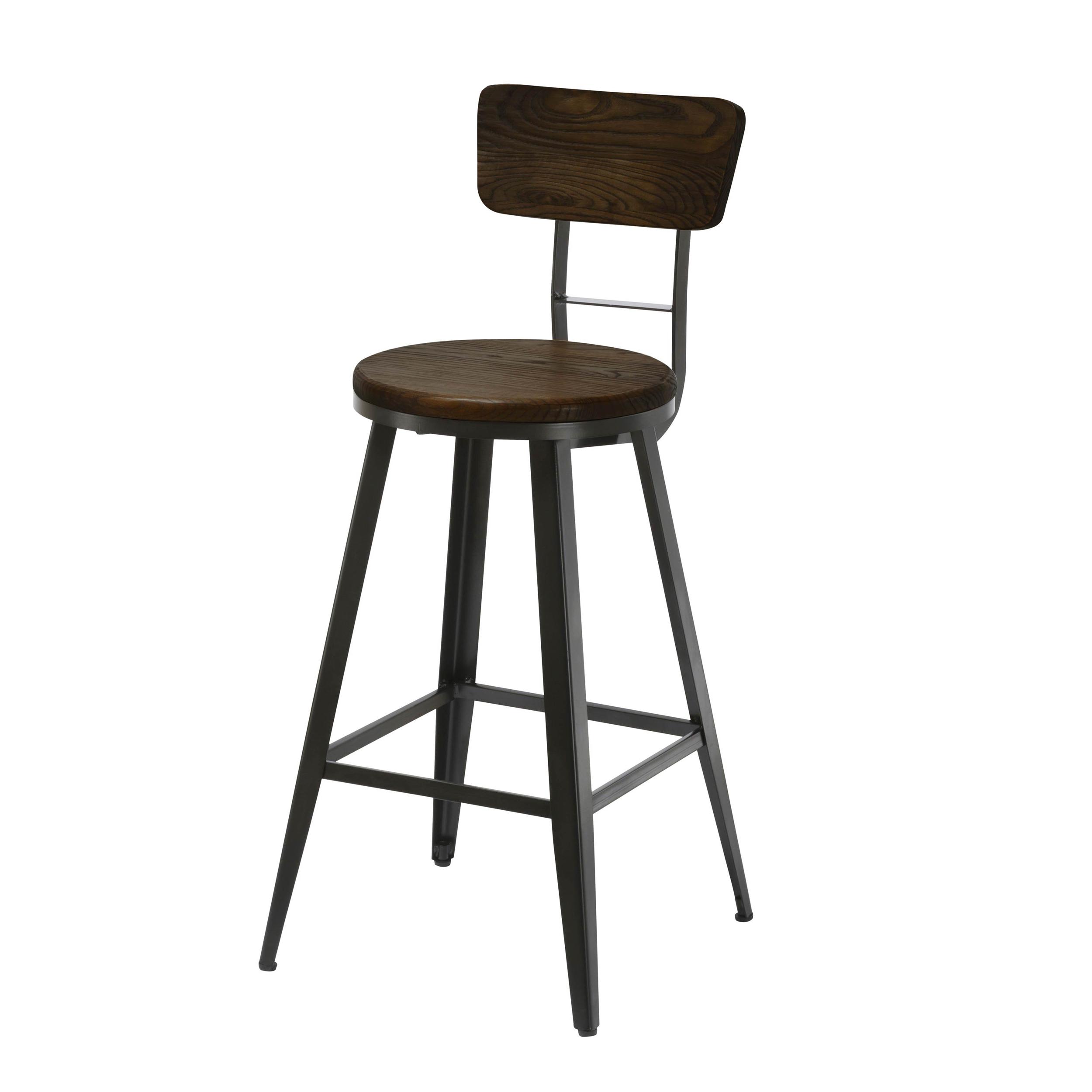 Chaise de bar 76 cm en bois et métal
