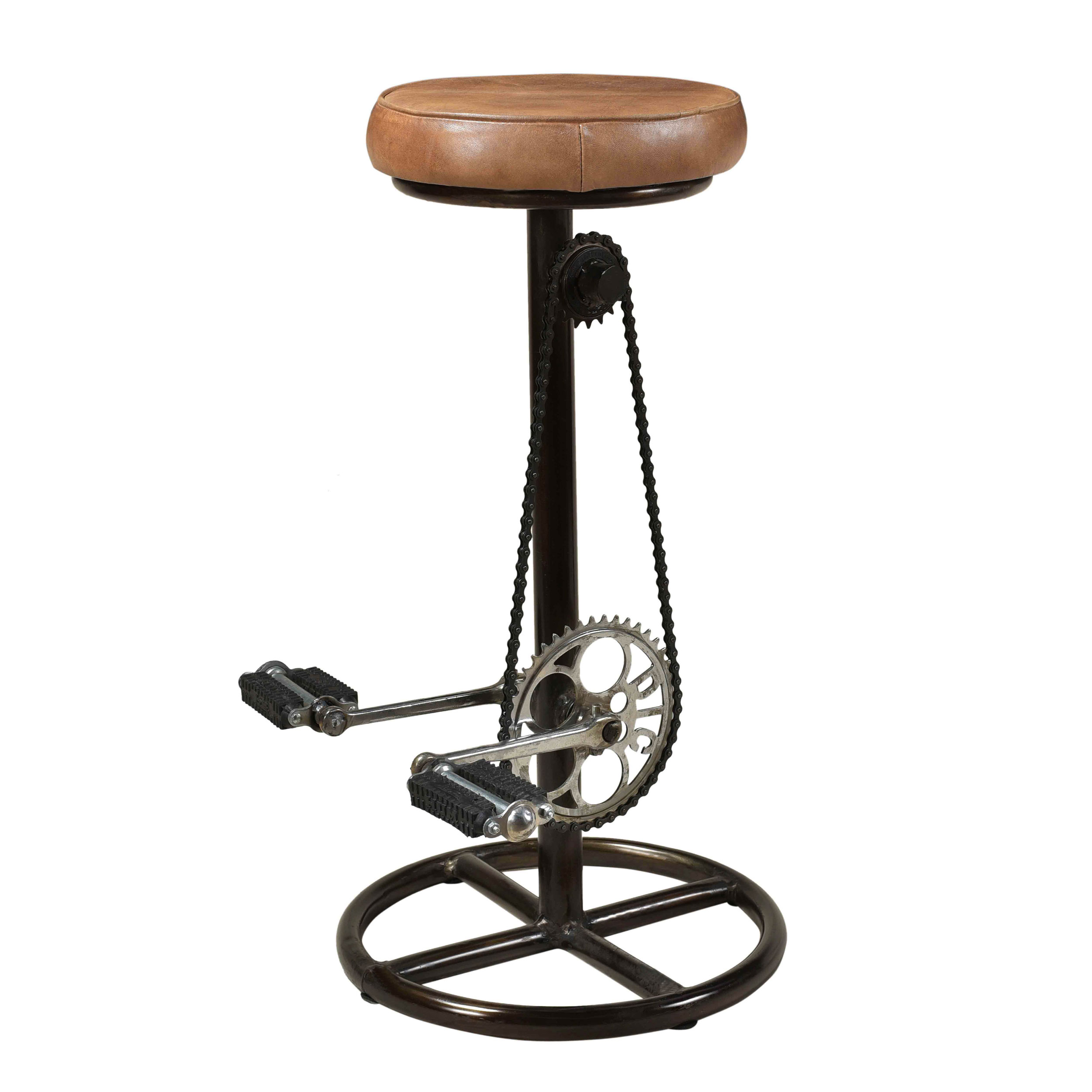 Tabouret de bar 73 cm en cuir marron