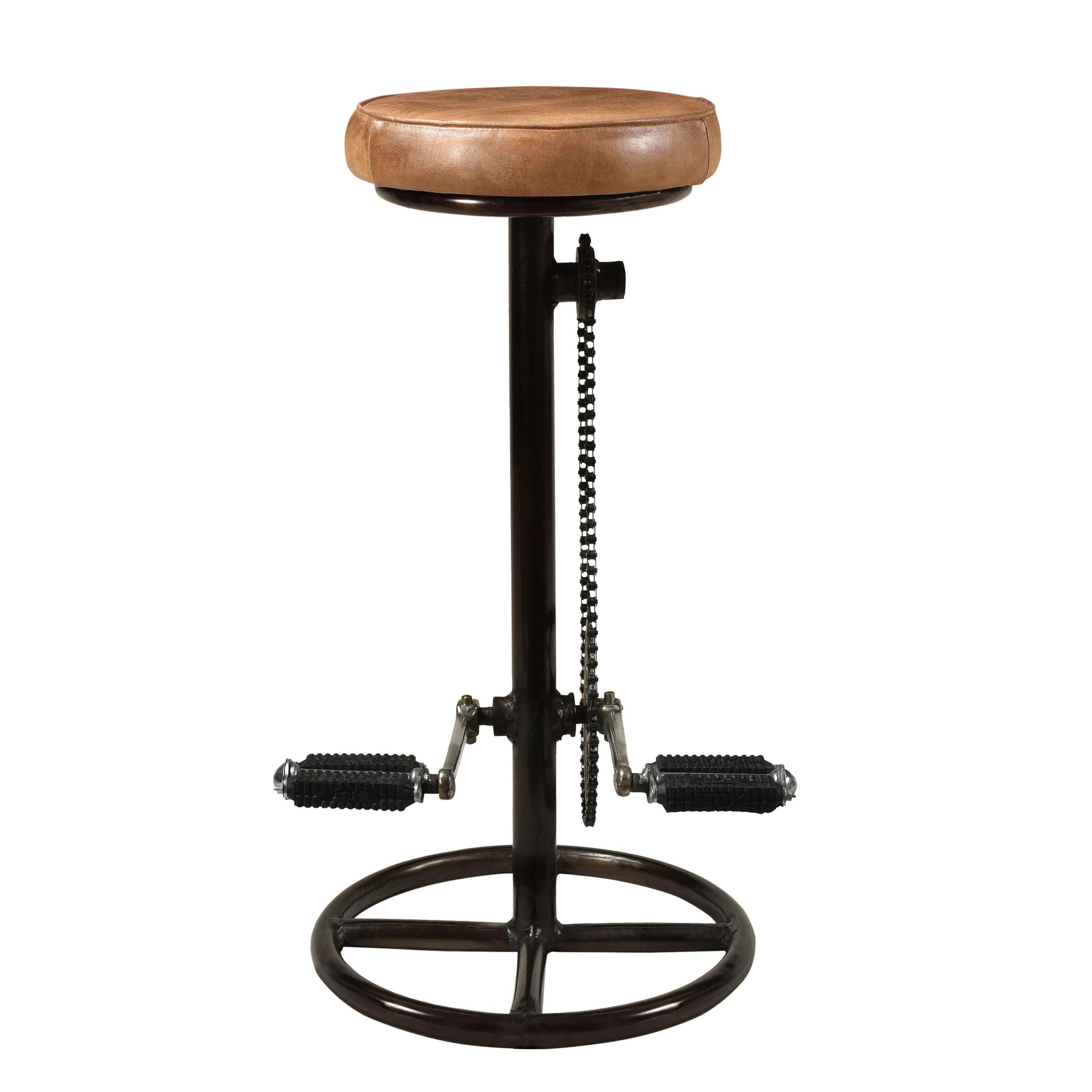 Tabouret de bar 73 cm en cuir marron