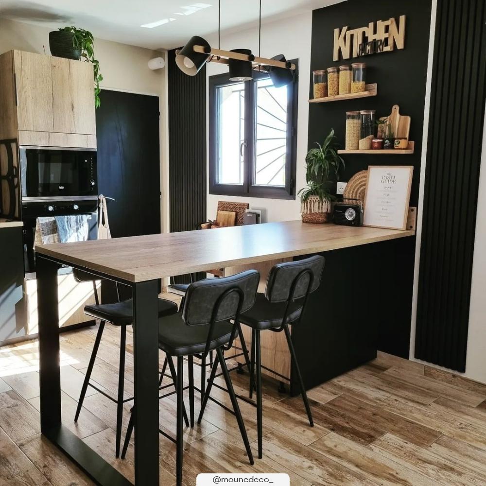 Chaise bar mi-hauteur 65 cm cuir synthétique gris/noir (x2)