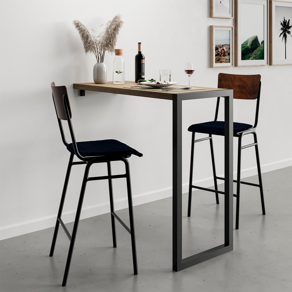 Chaise de bar 75 cm en bois foncé, velours bleu (lot de 2)