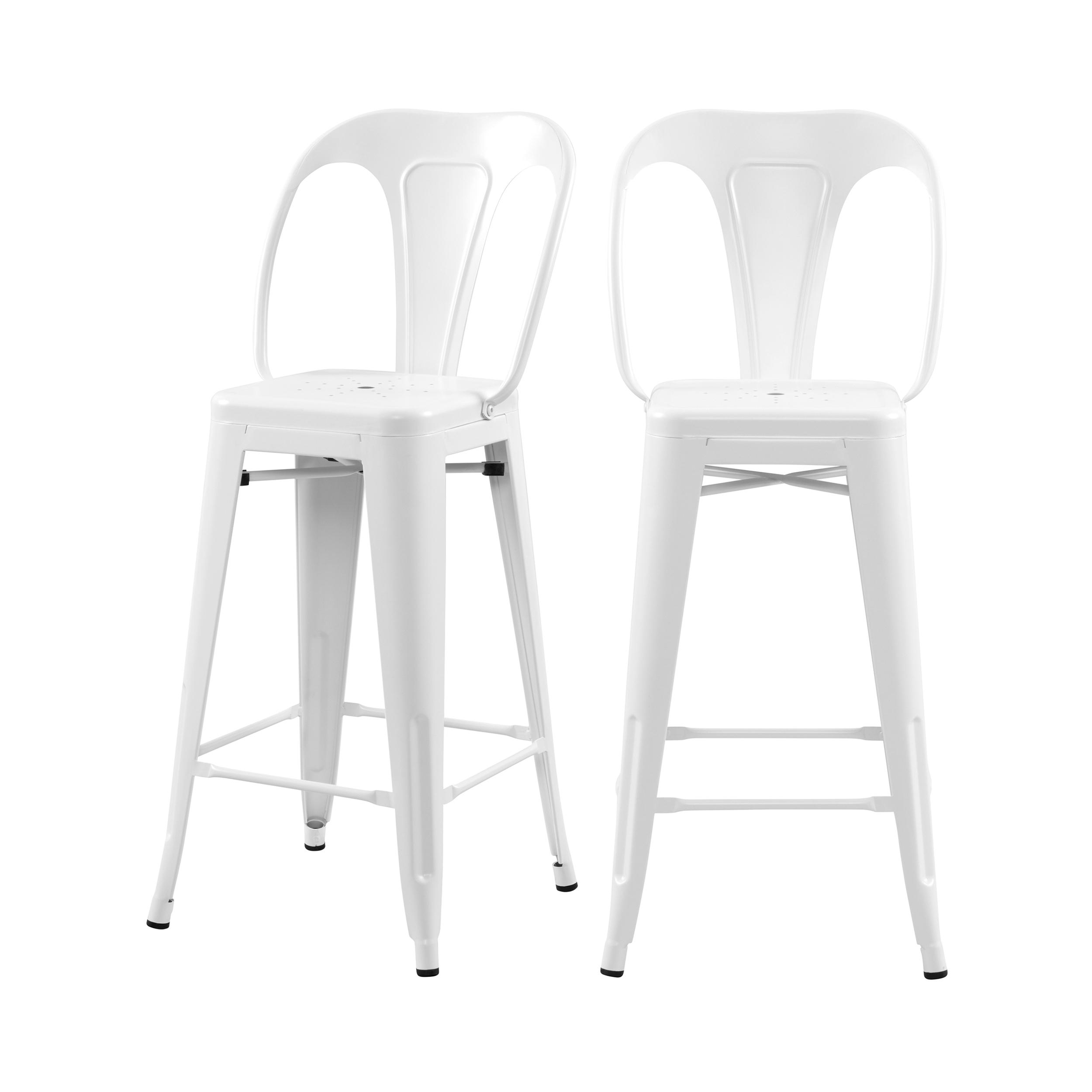 Chaise de bar mi-hauteur 66 cm en métal blanc mat (lot de 2)