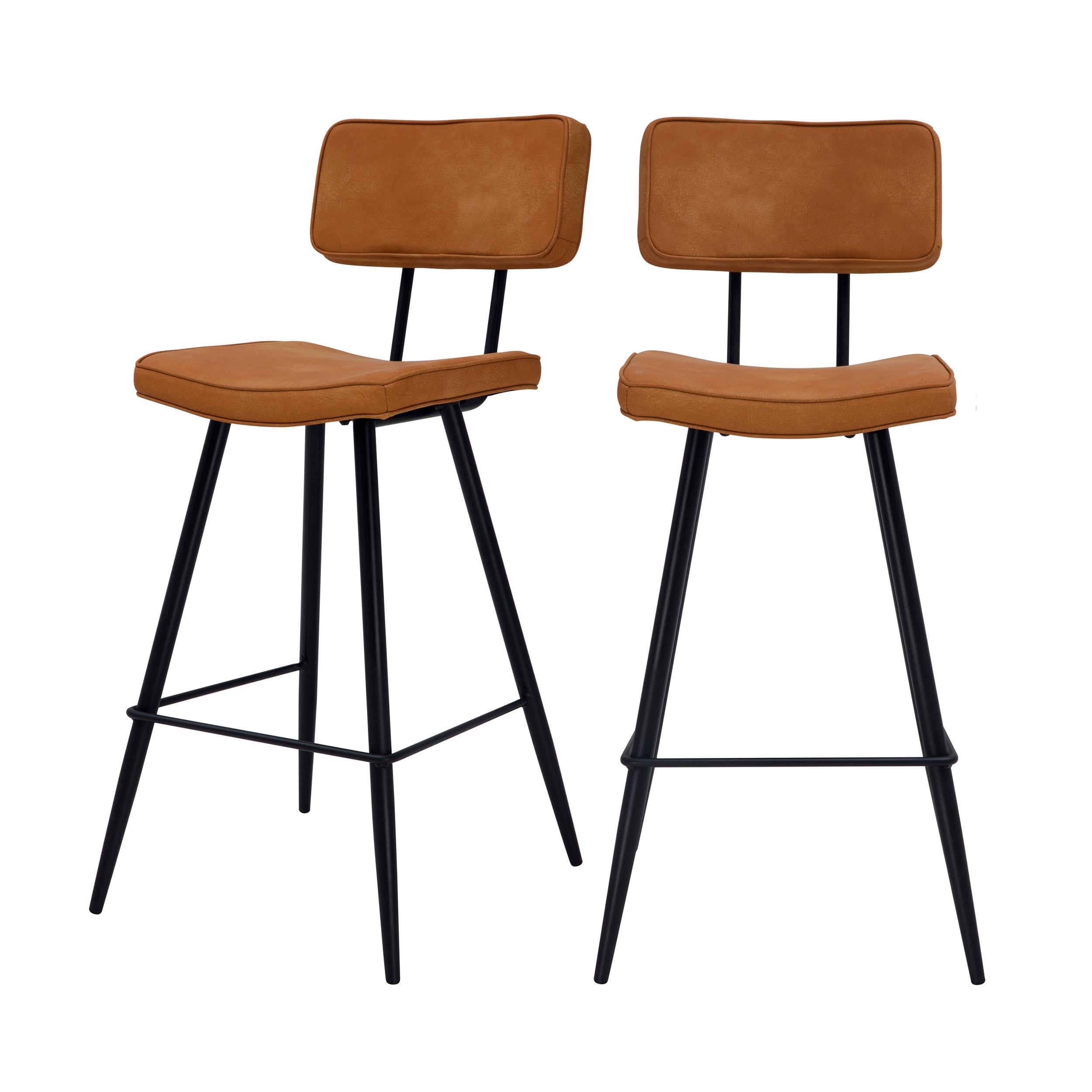 Chaise de bar mi-hauteur 65cm en cuir synthétique camel (x2)
