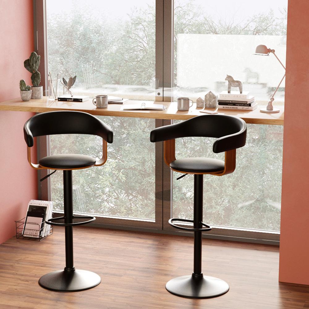 Chaise de bar réglable 59/79 cm en cuir synthétique noir