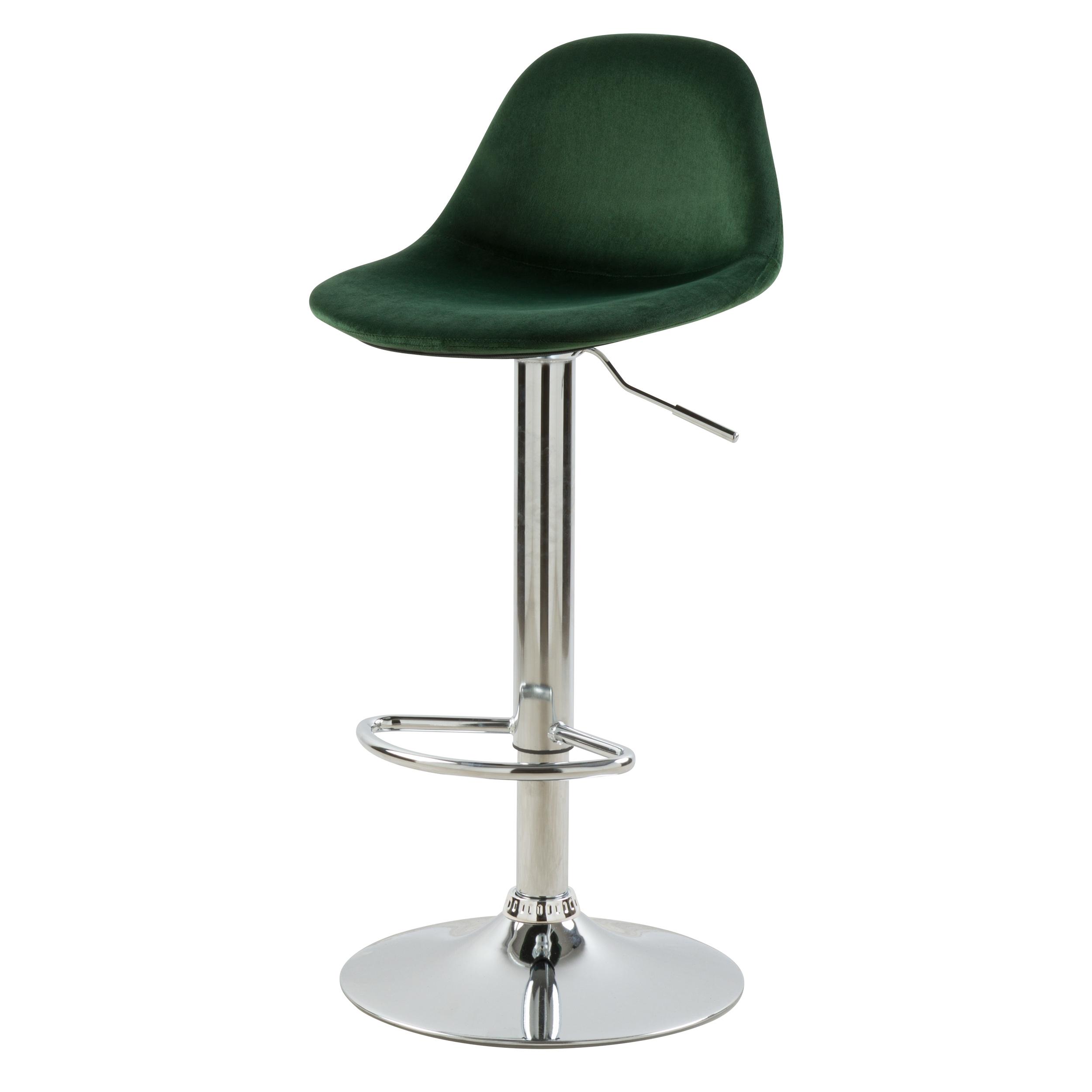 Chaise de bar réglable 60/82 cm en velours vert