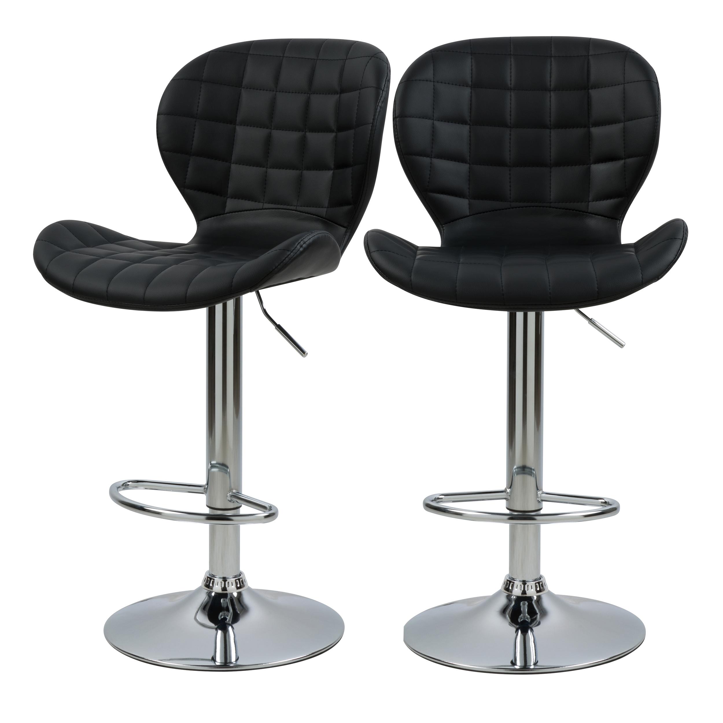Chaise de bar réglable 53/74cm en cuir synthétique noir (x2)